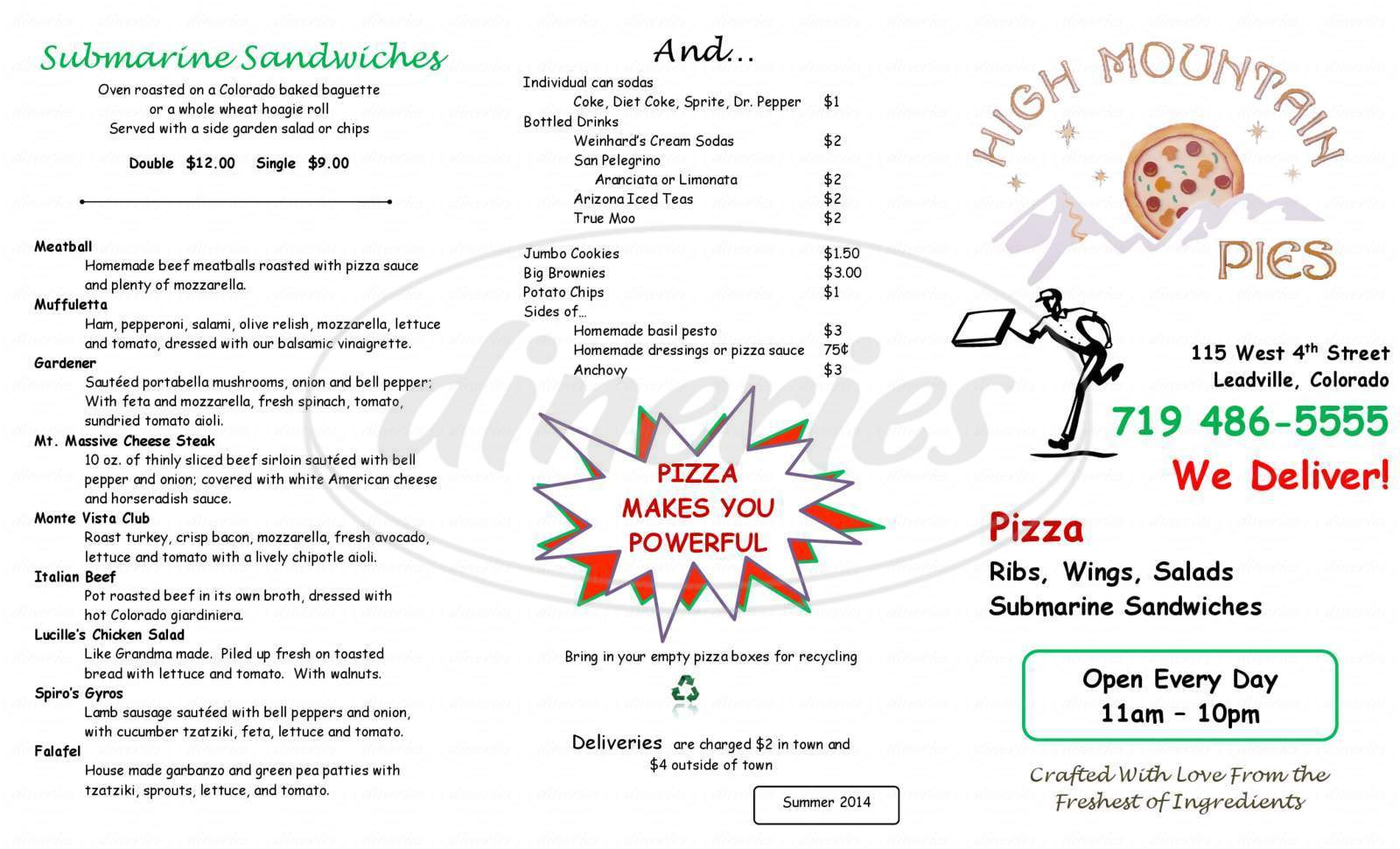 menu for High Mountain Pies