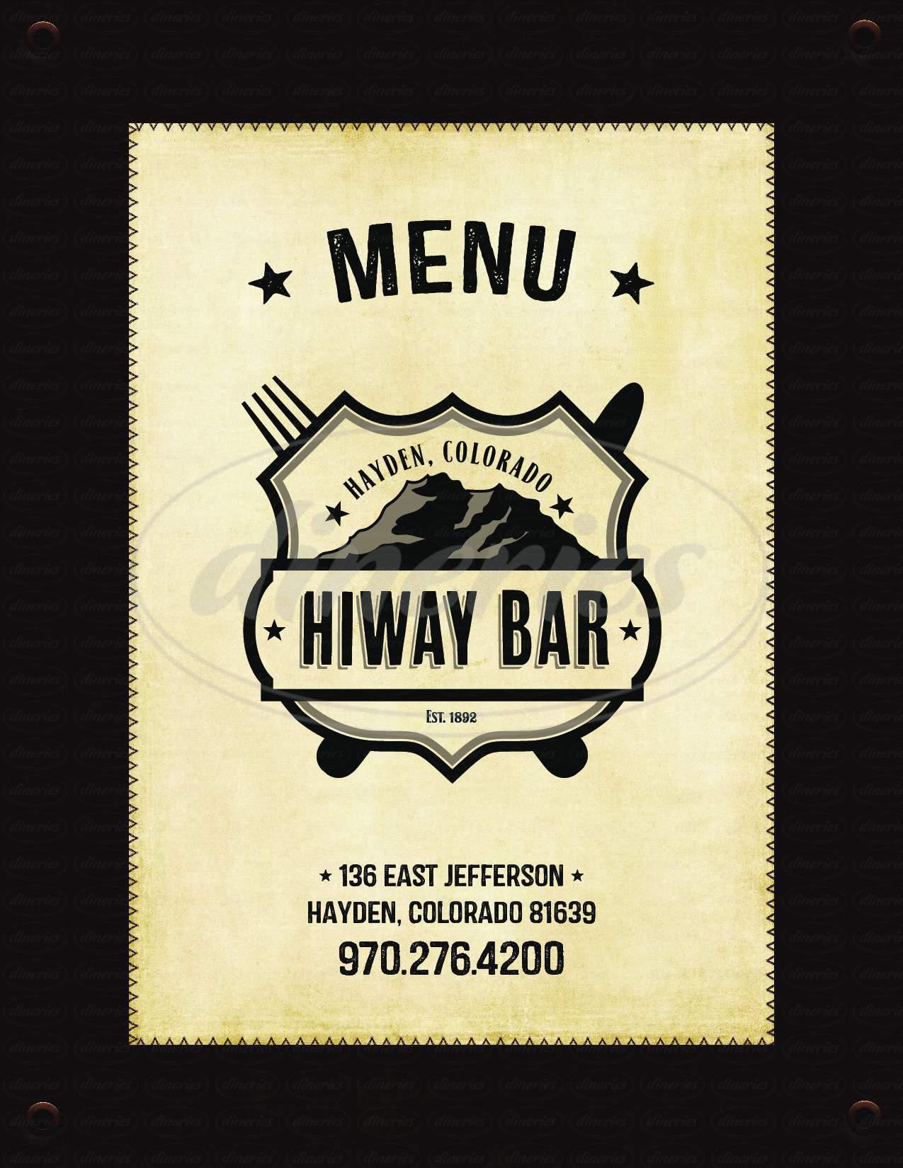 menu for Hiway Bar
