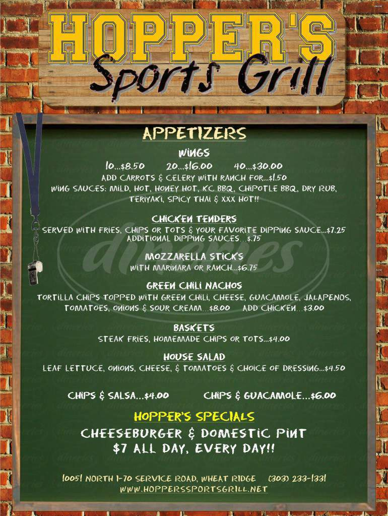 menu for Hopper's Sports Grill