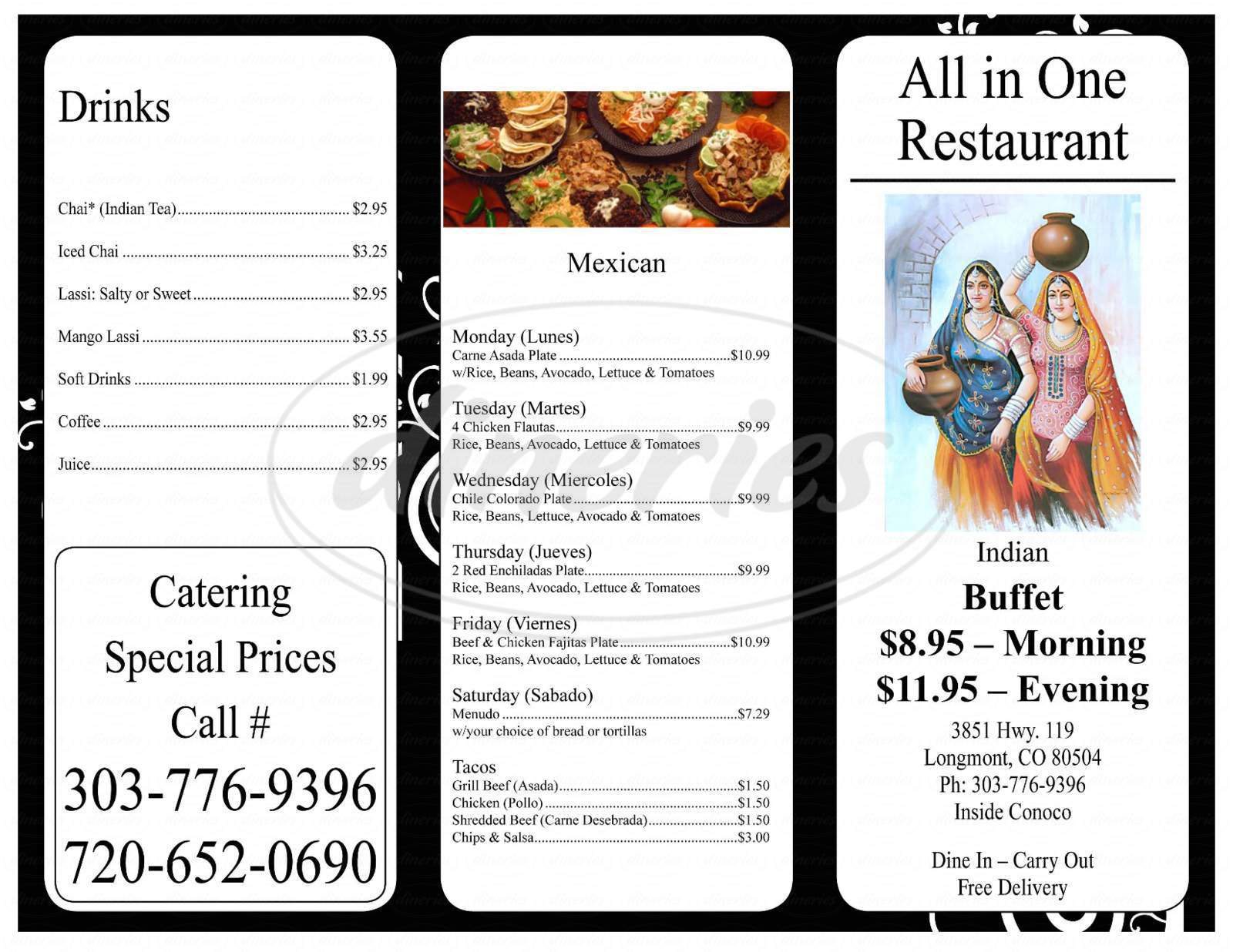 menu for All in one Restaurant