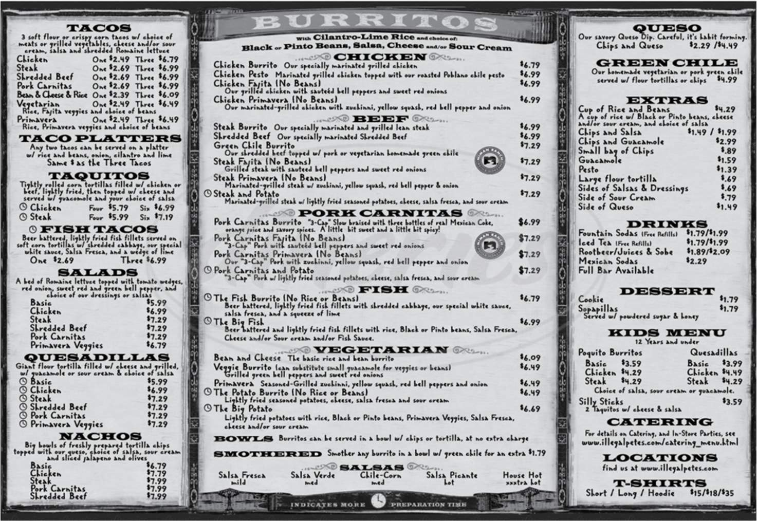 menu for Illegal Pete's