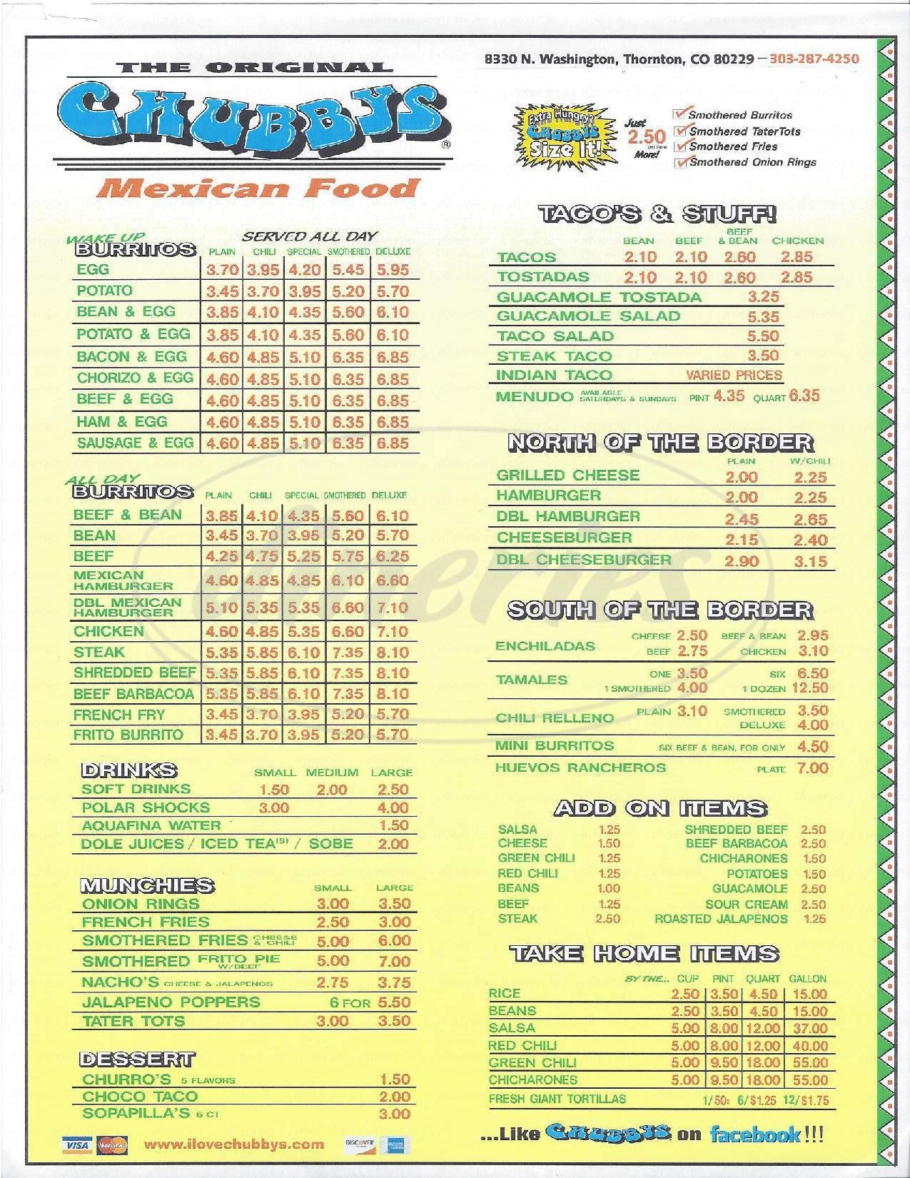 menu for Chubby's