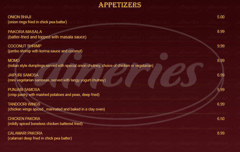 menu for India's Best Restaurant And Bar