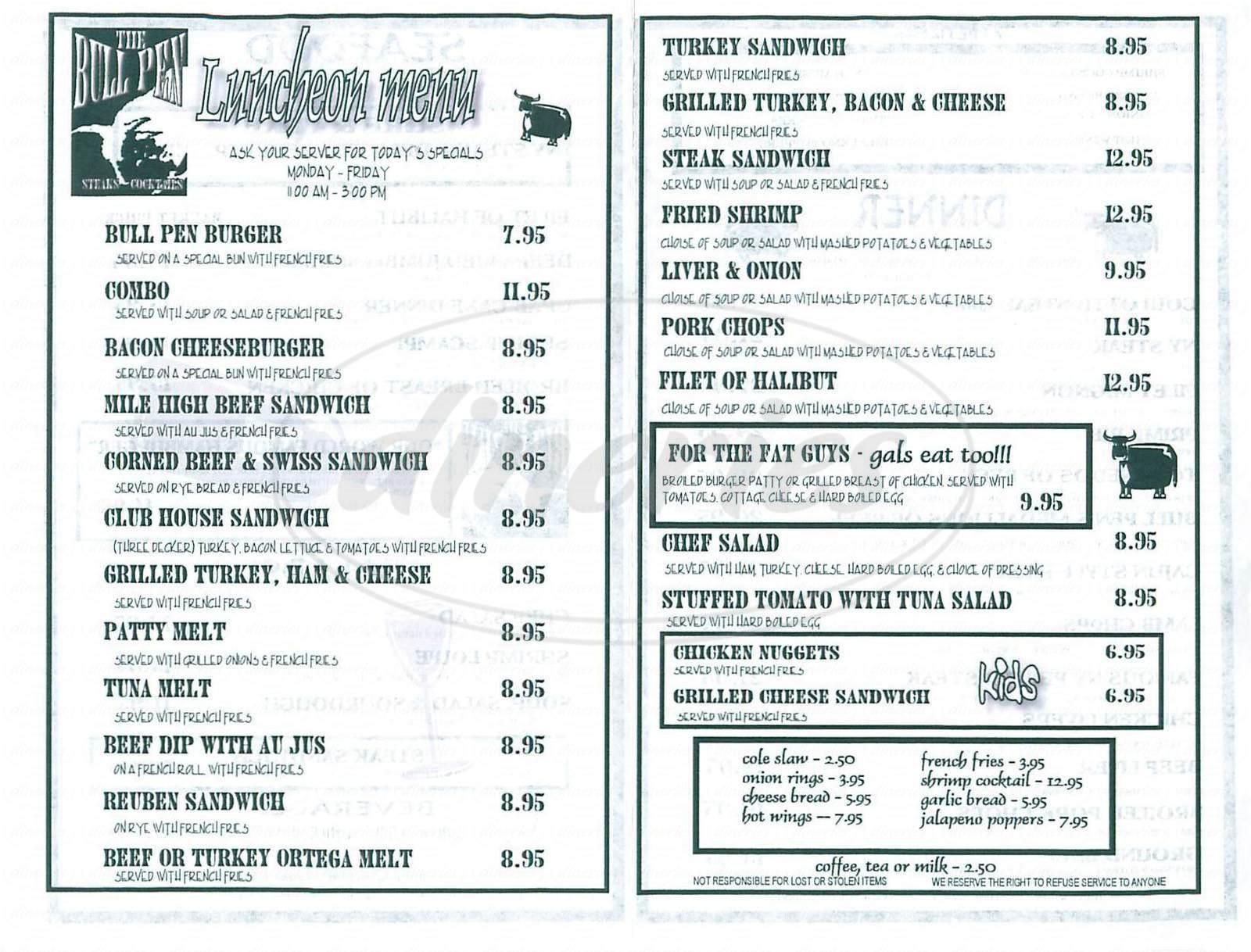 menu for The Bull Pen