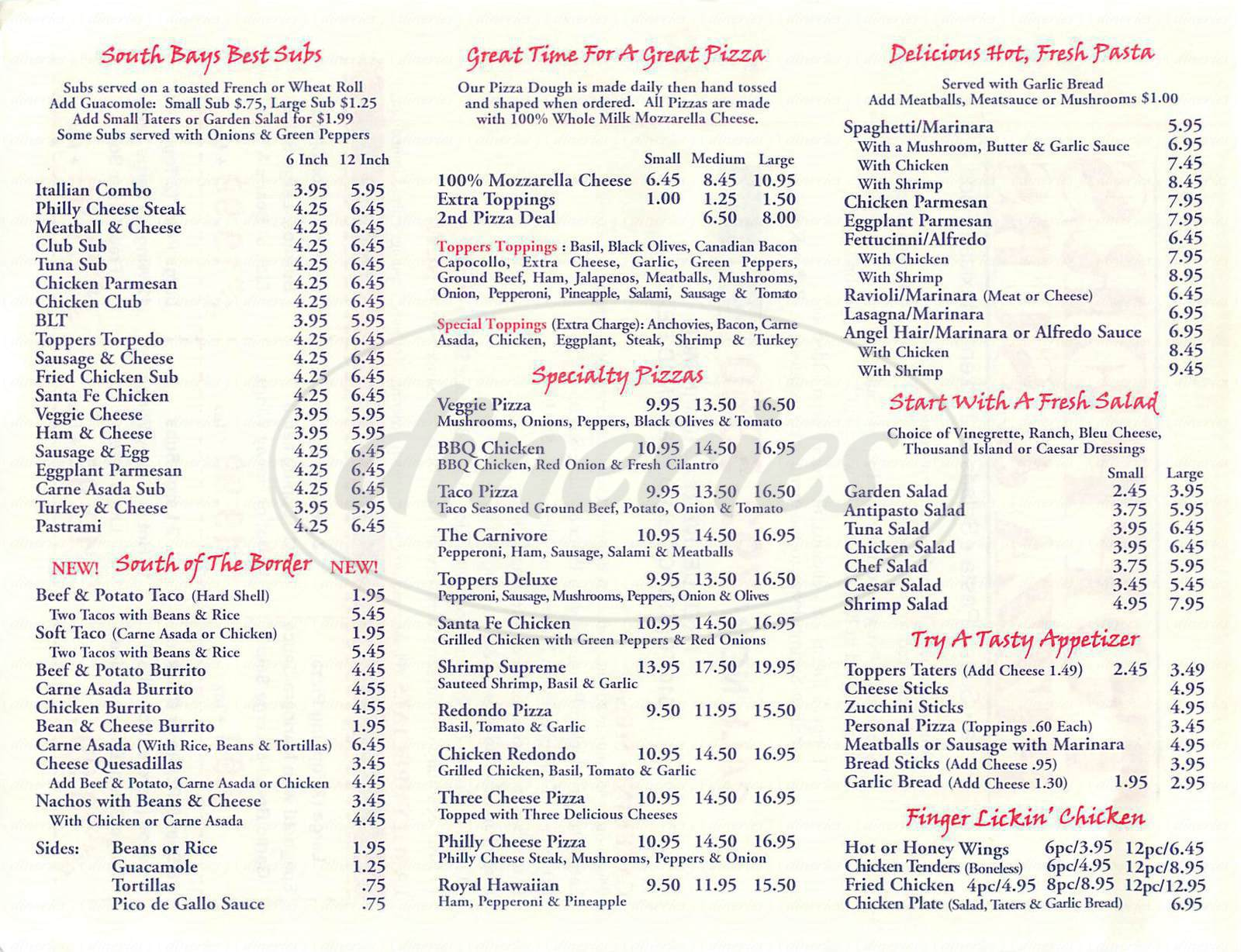 menu for Toppers Pizza & Subs