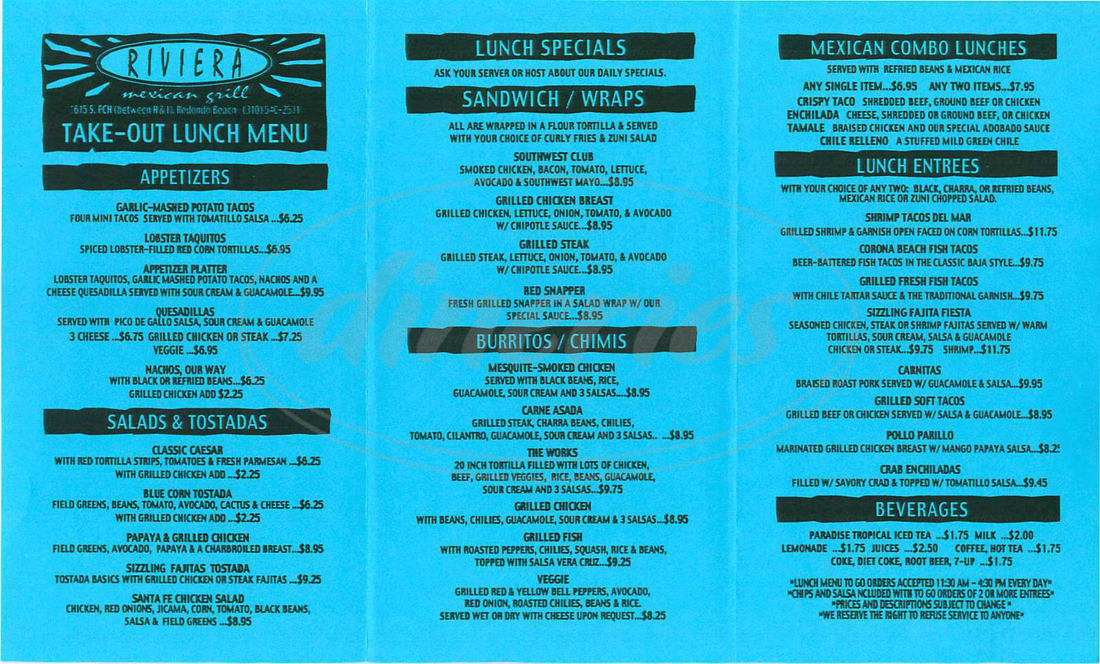 menu for Riviera Mexican Grill