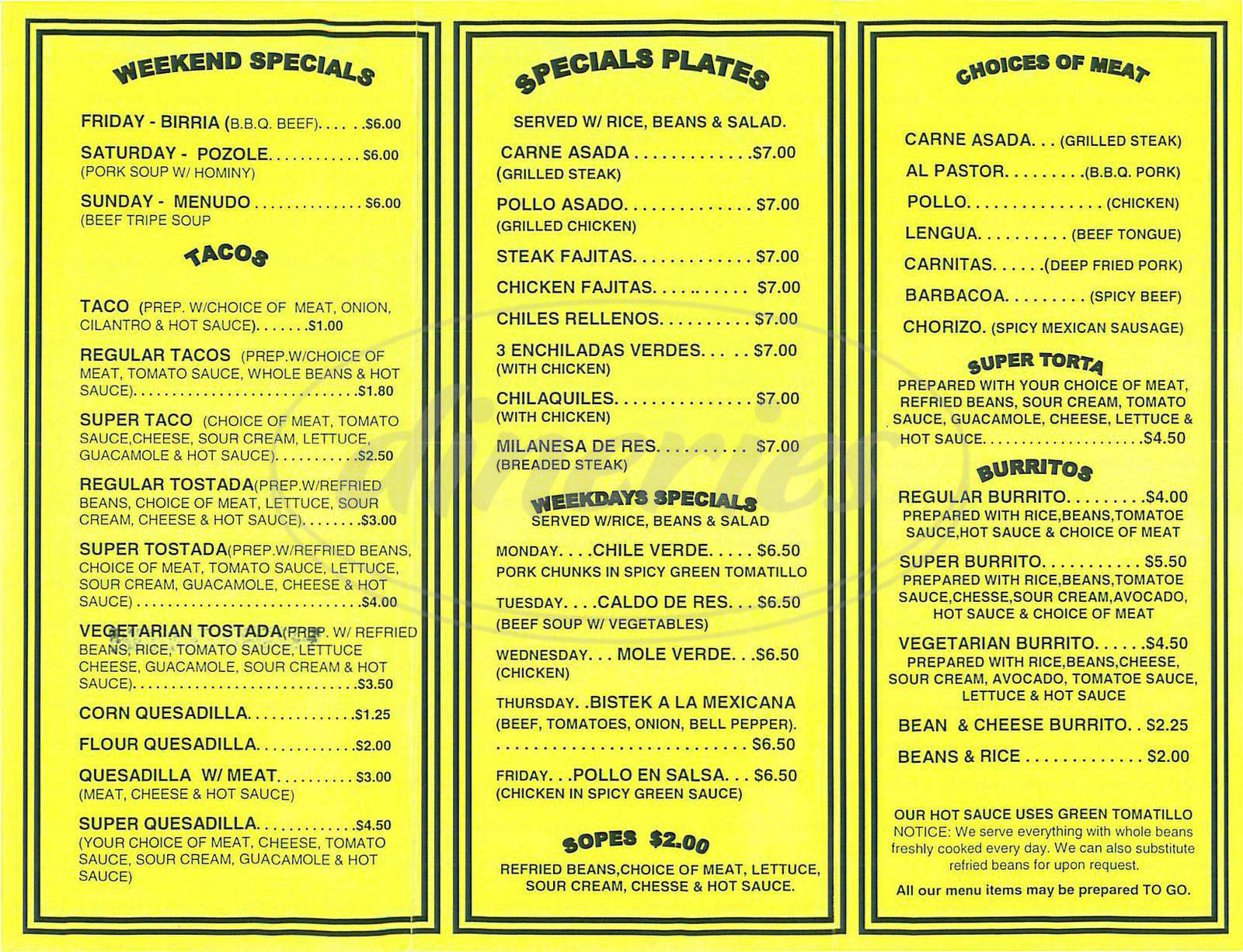 menu for El Ranchito Taqueria