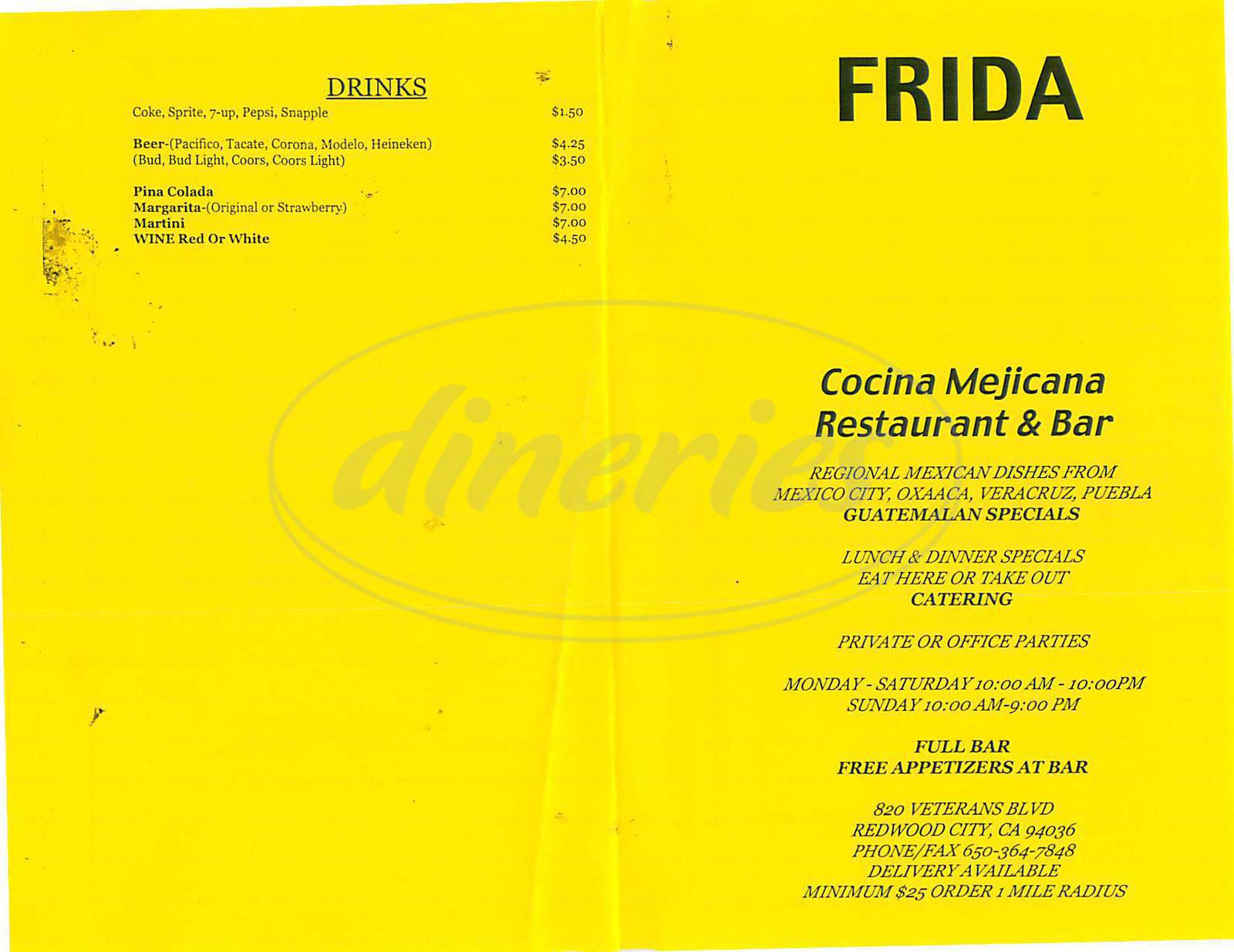 menu for Frida Cocina Mejicana