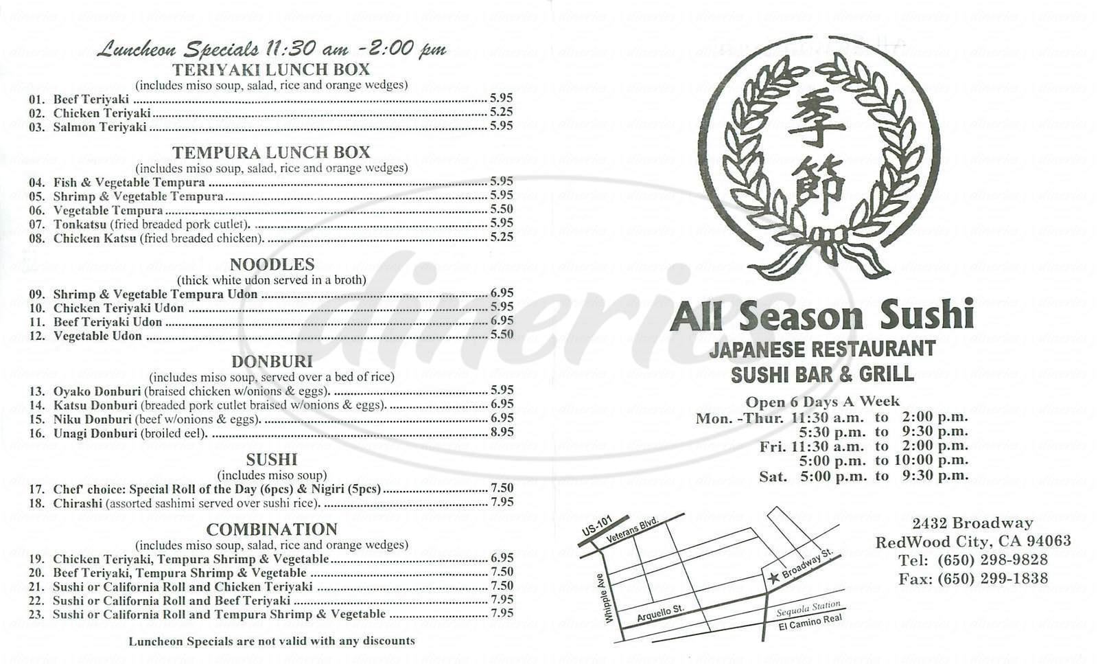 Big menu for All Season Sushi, Redwood City