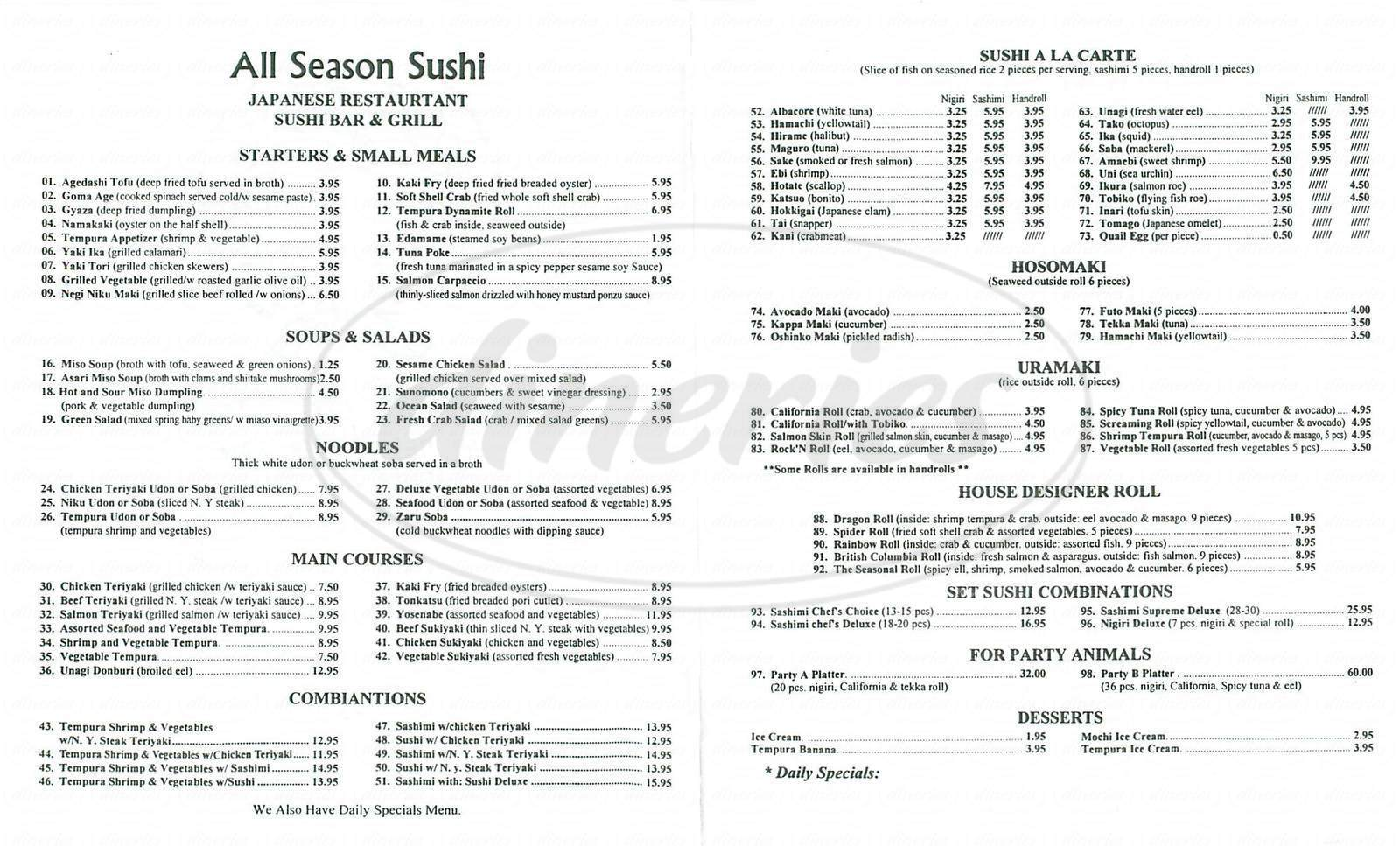 menu for All Season Sushi