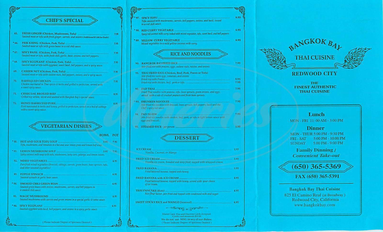 menu for Bangkok Bay