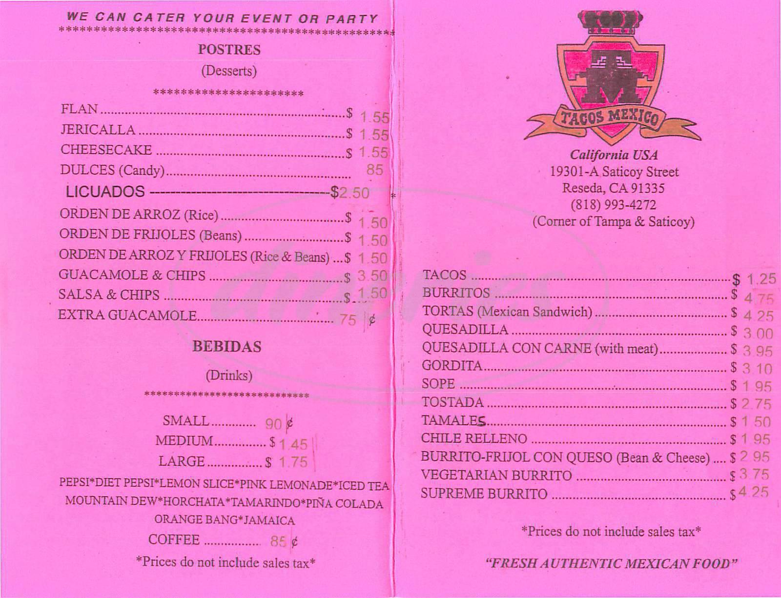 menu for Tacos Mexico