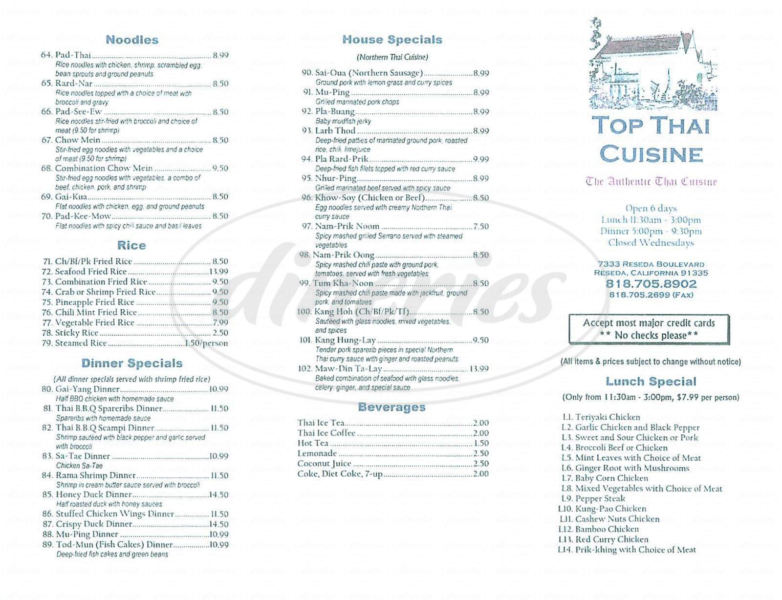 menu for Top Thai Cuisine