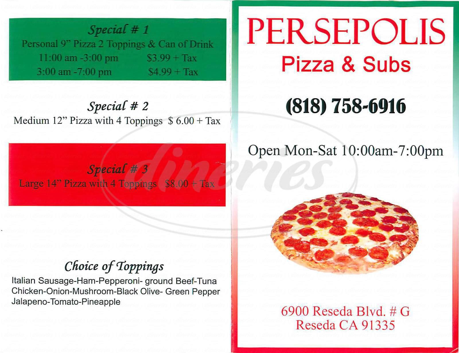 menu for Persepolis