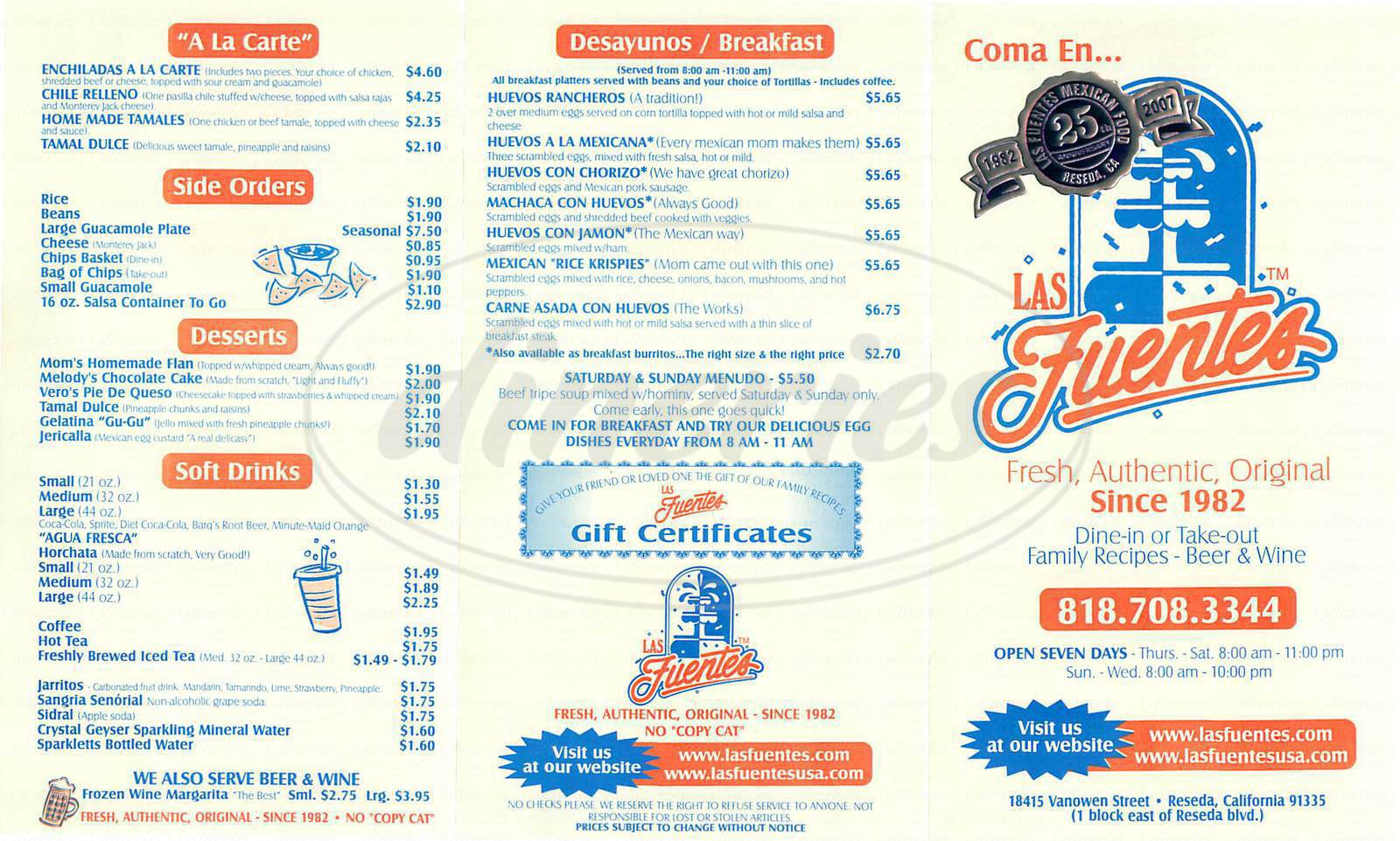 menu for Las Fuentes