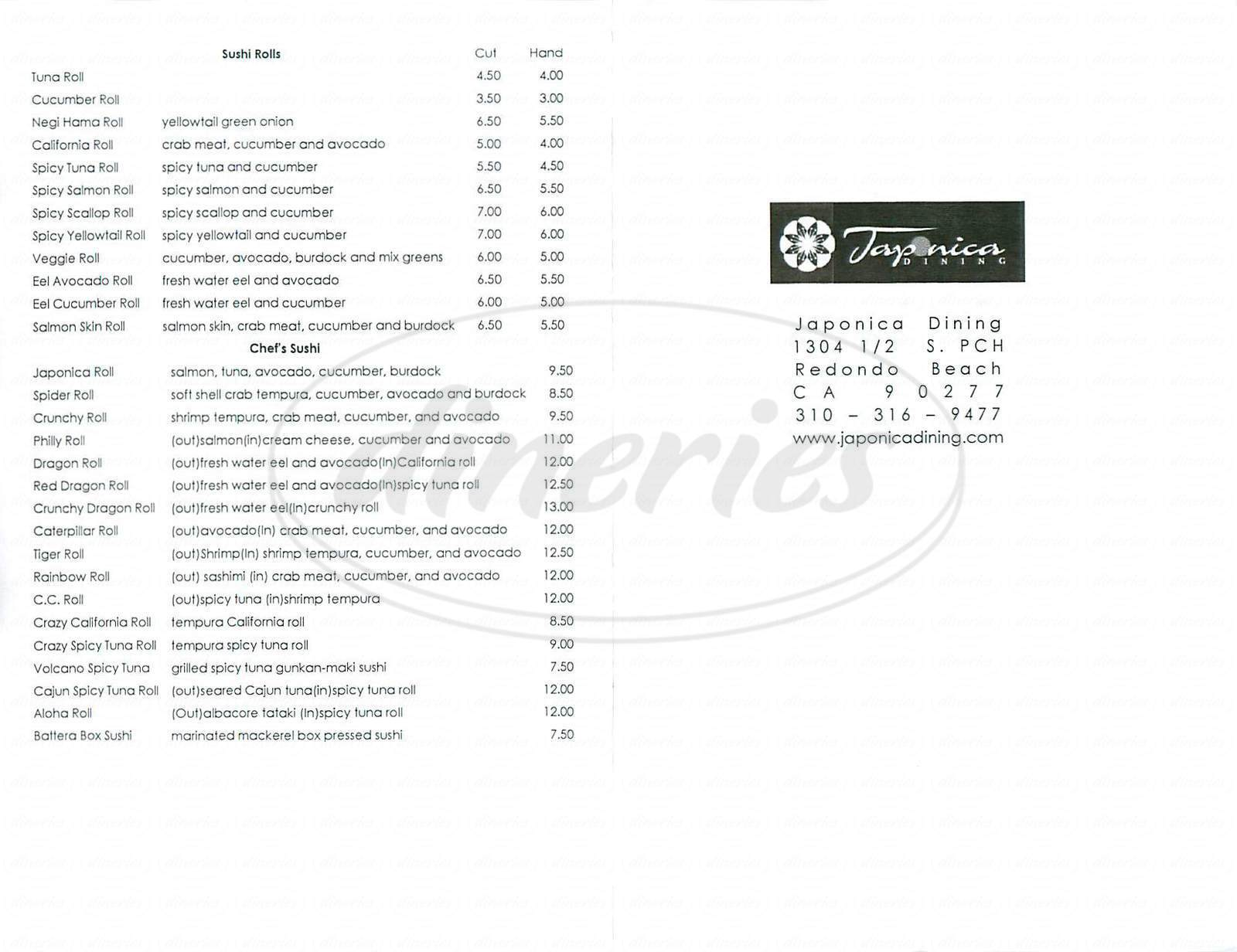 menu for Japonica Dining