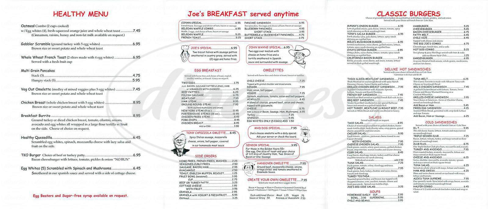 menu for Joe's Diner
