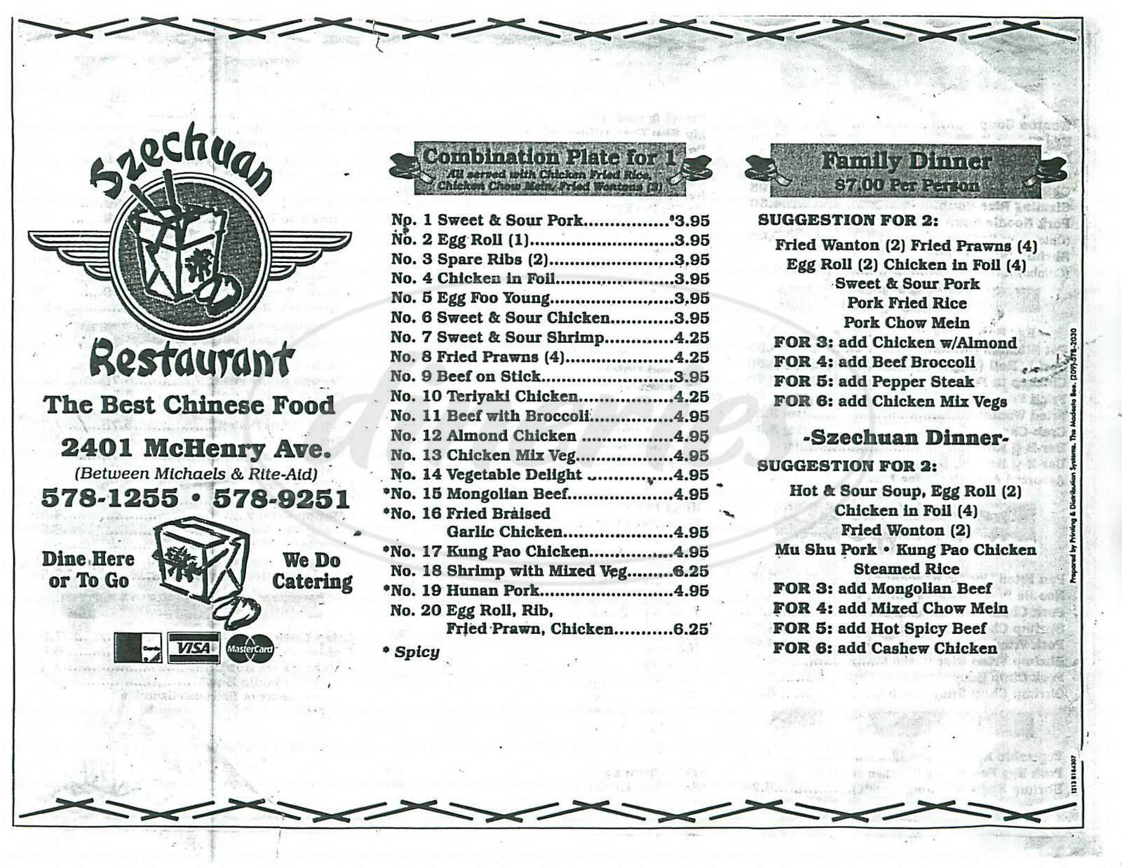 menu for Szechuan Restaurant
