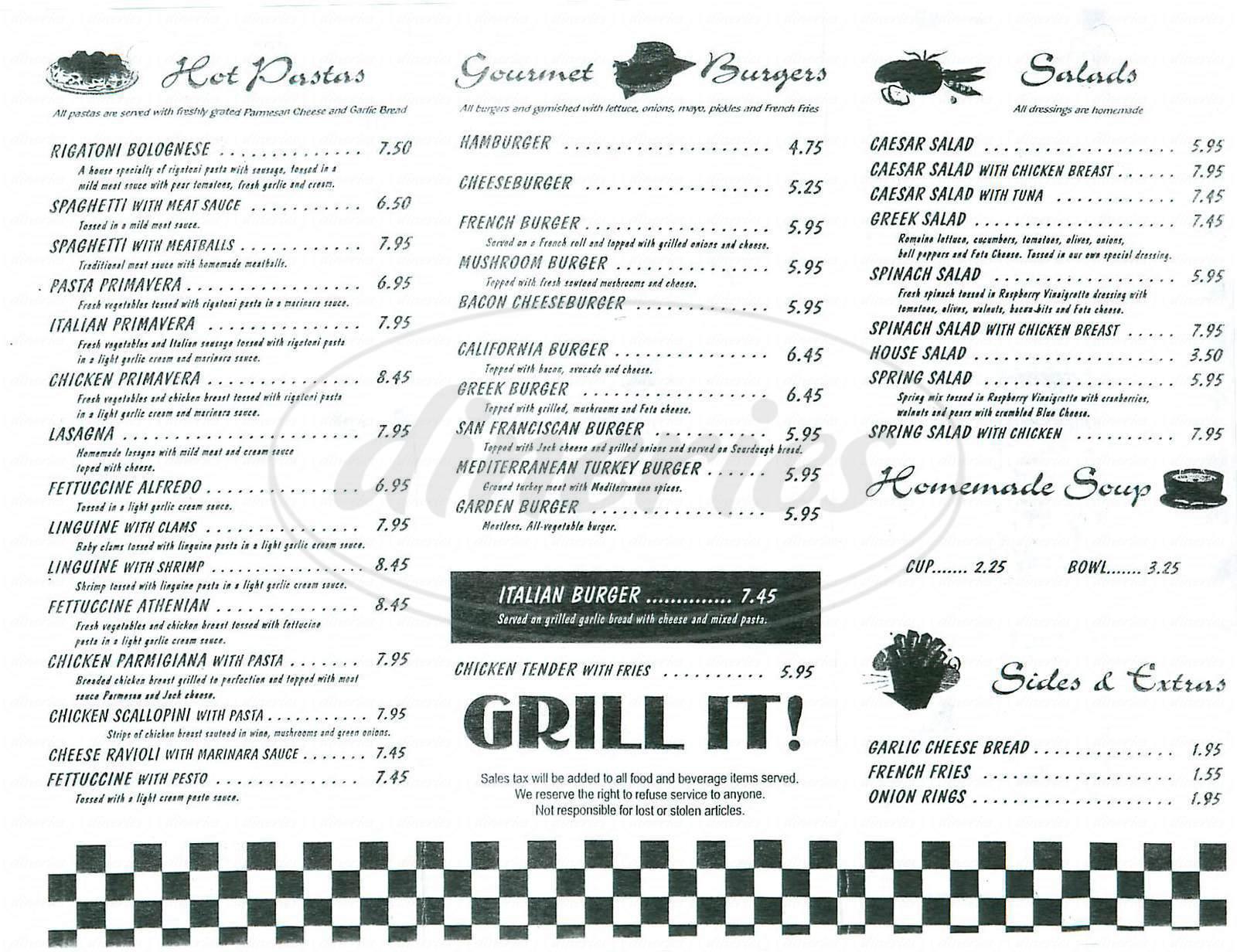 menu for Dinos Grill