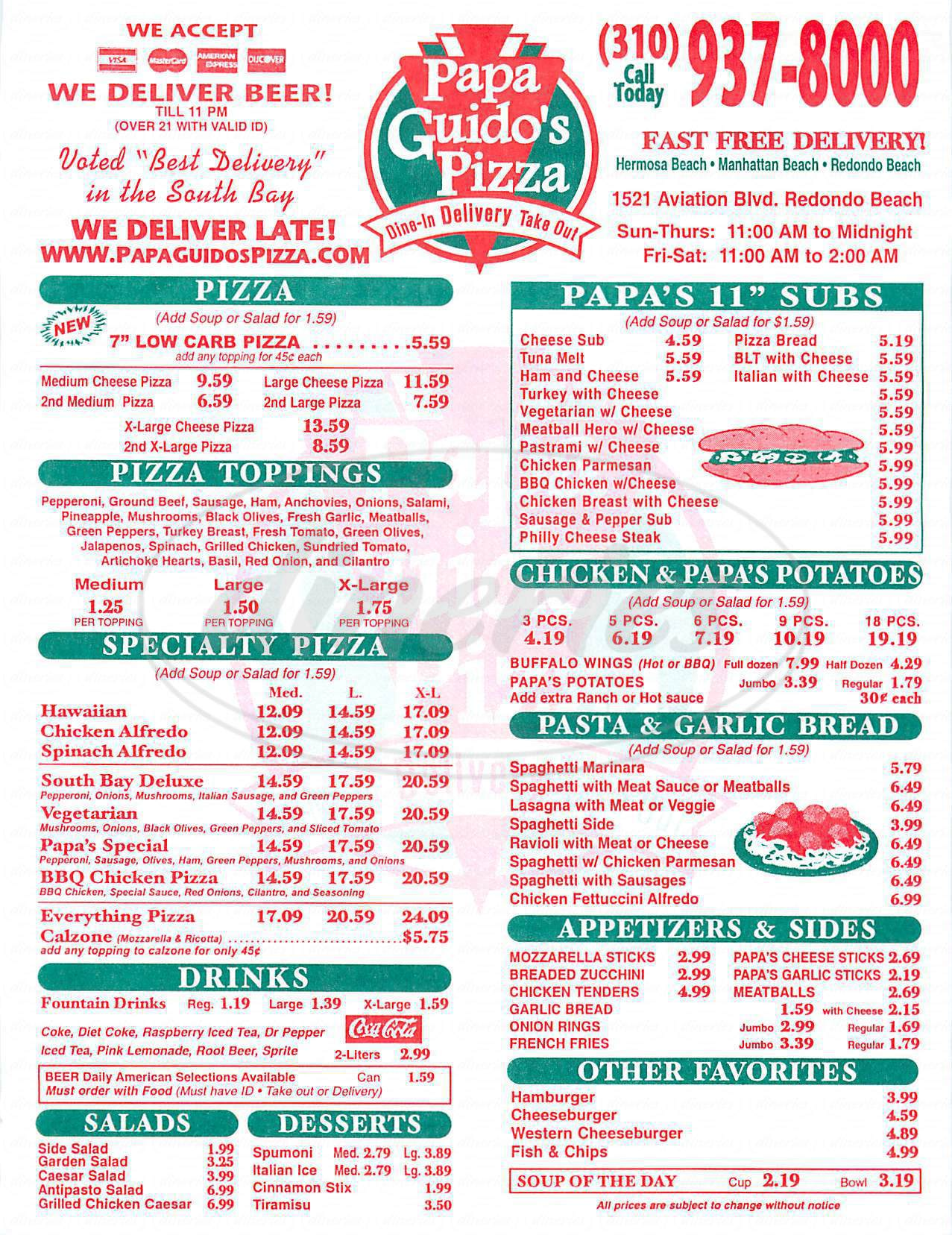 menu for Papa Guidos Pizza