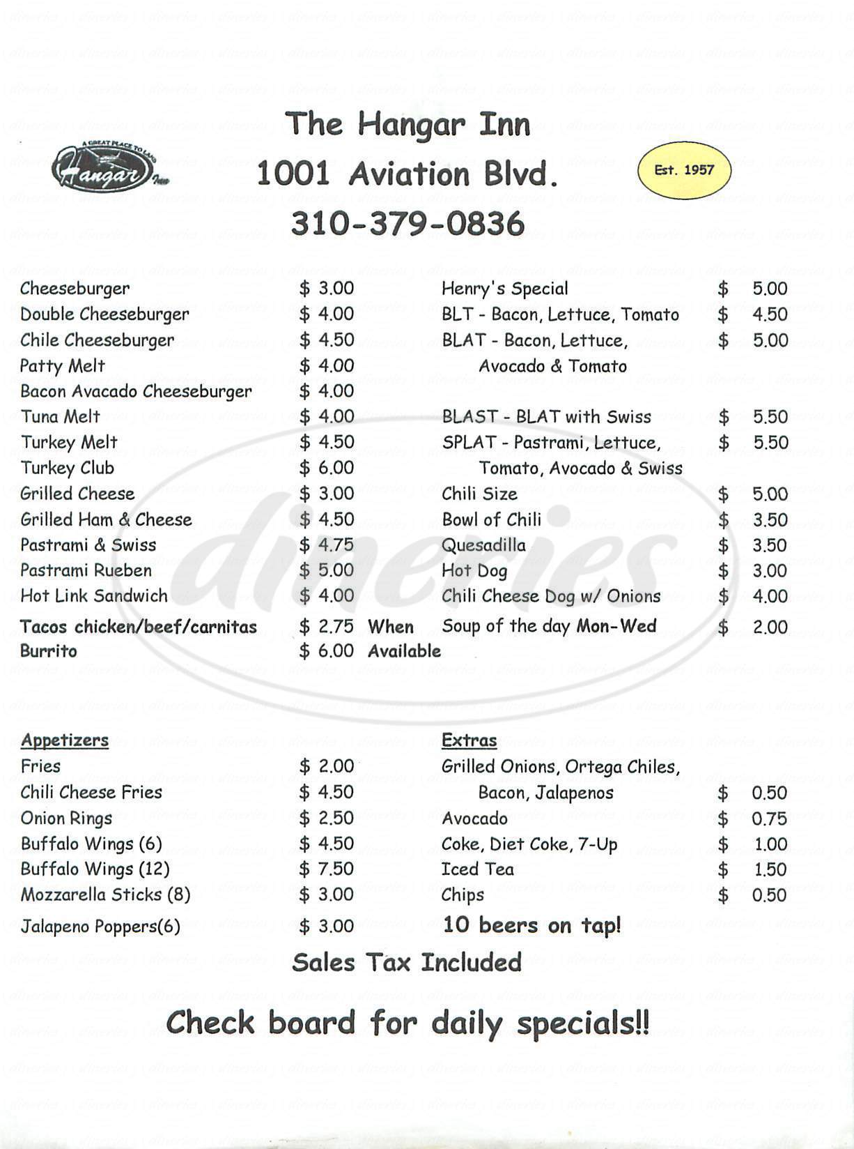 menu for The Hangar Inn