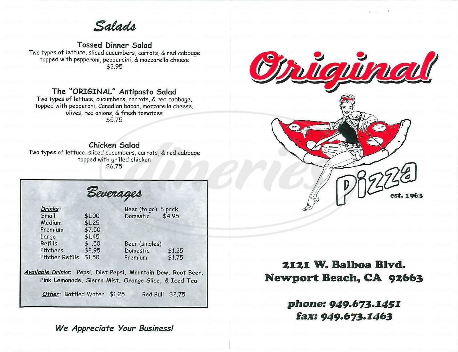 menu for Original Pizza