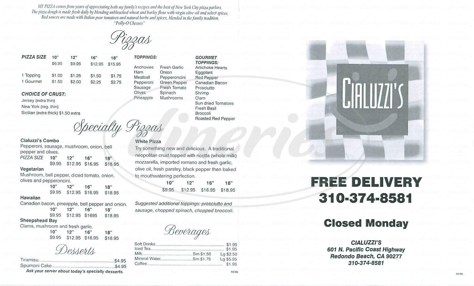 menu for Cialuzzis