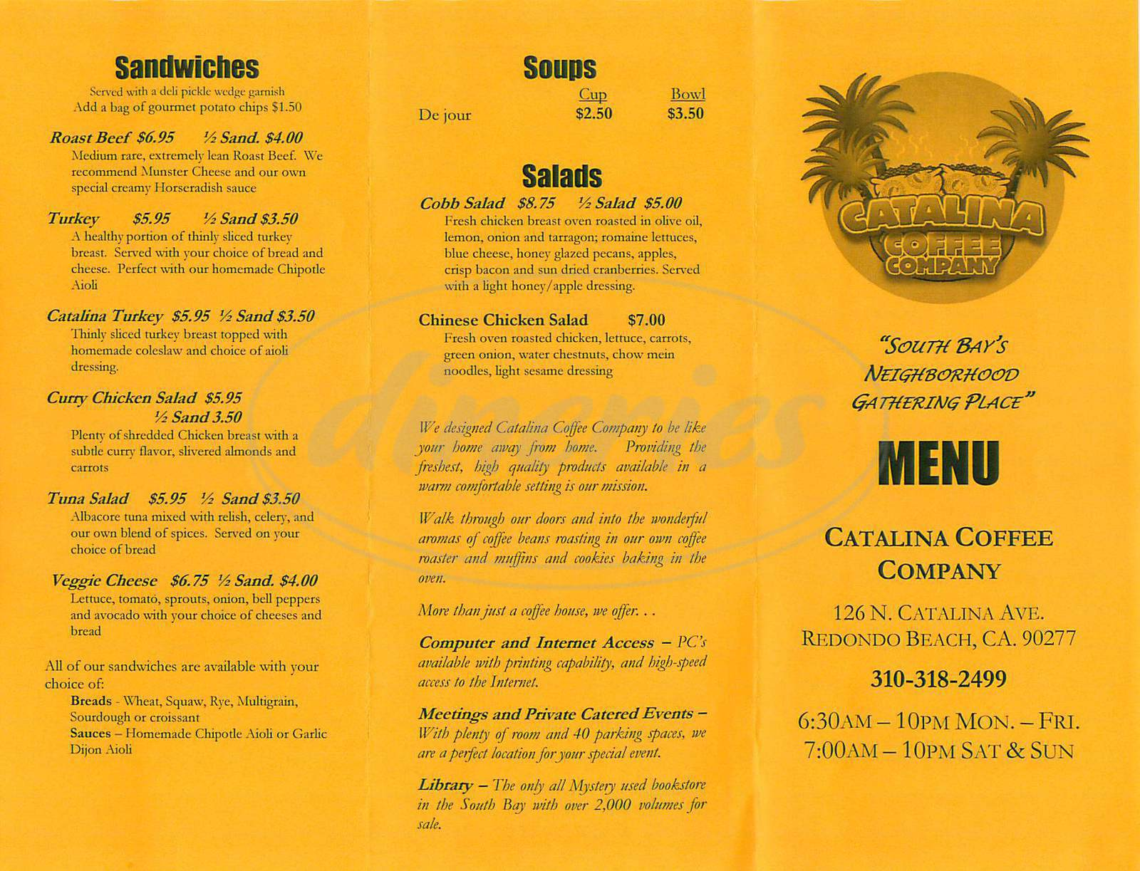 menu for Catalina Coffee Company