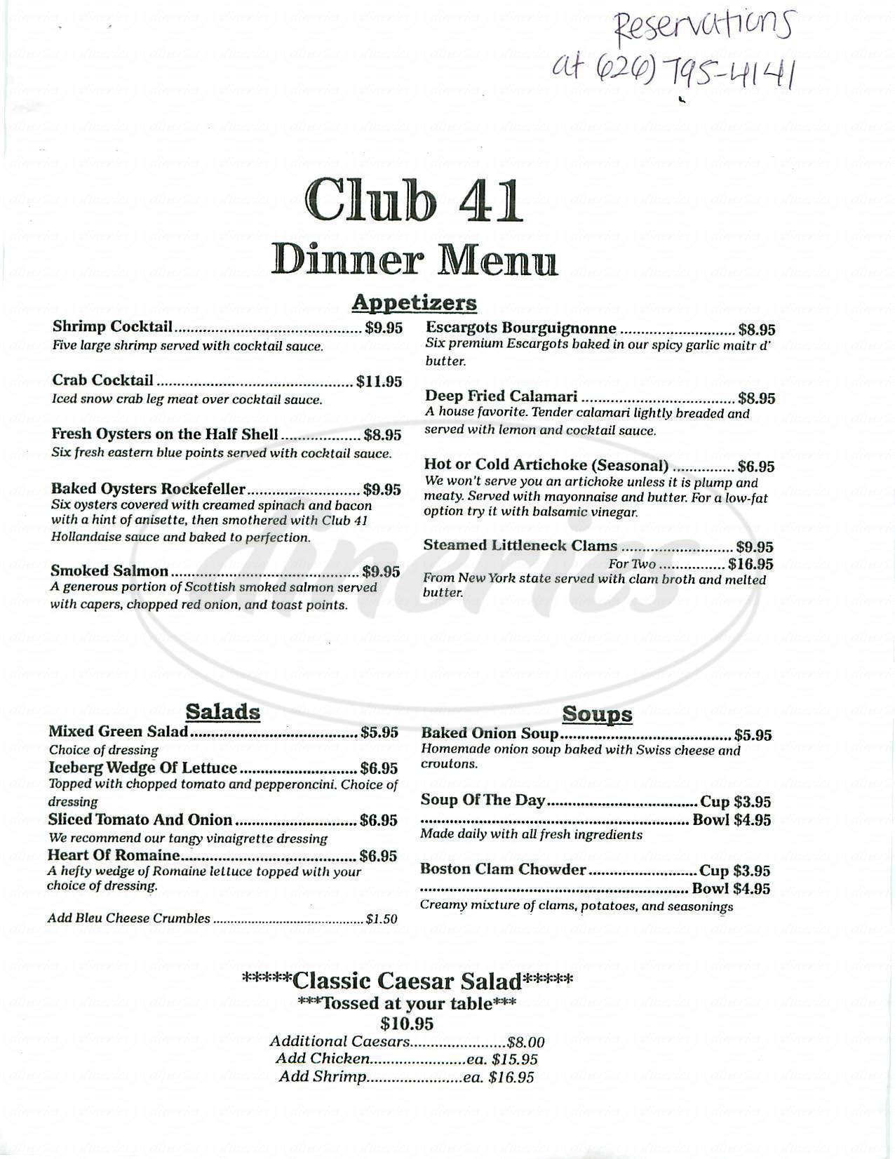 menu for Delacey's Club 41