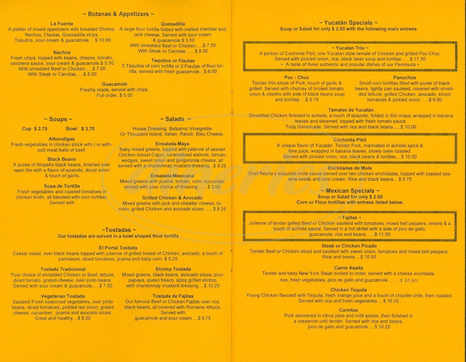 menu for El Portal