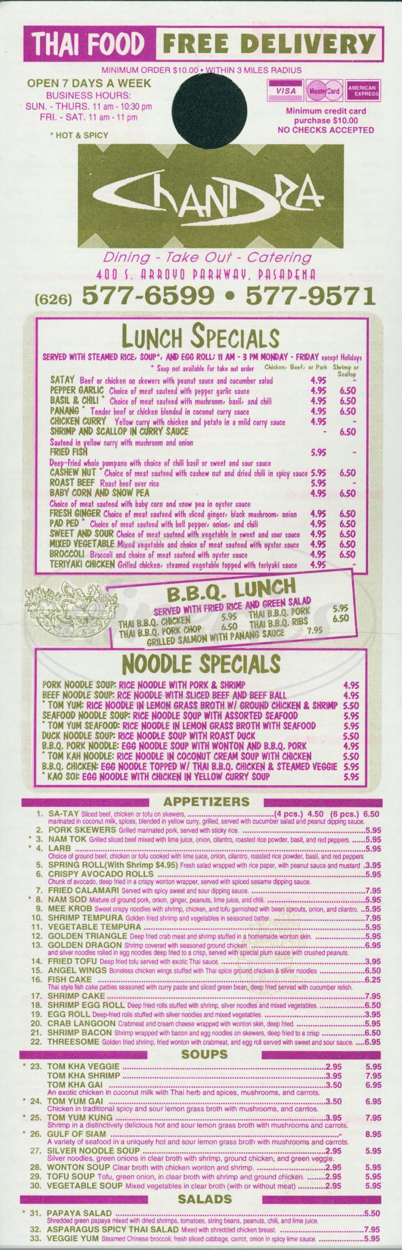 menu for Chandra Thai Restaurant