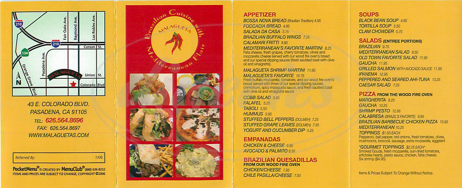 menu for Malagueta