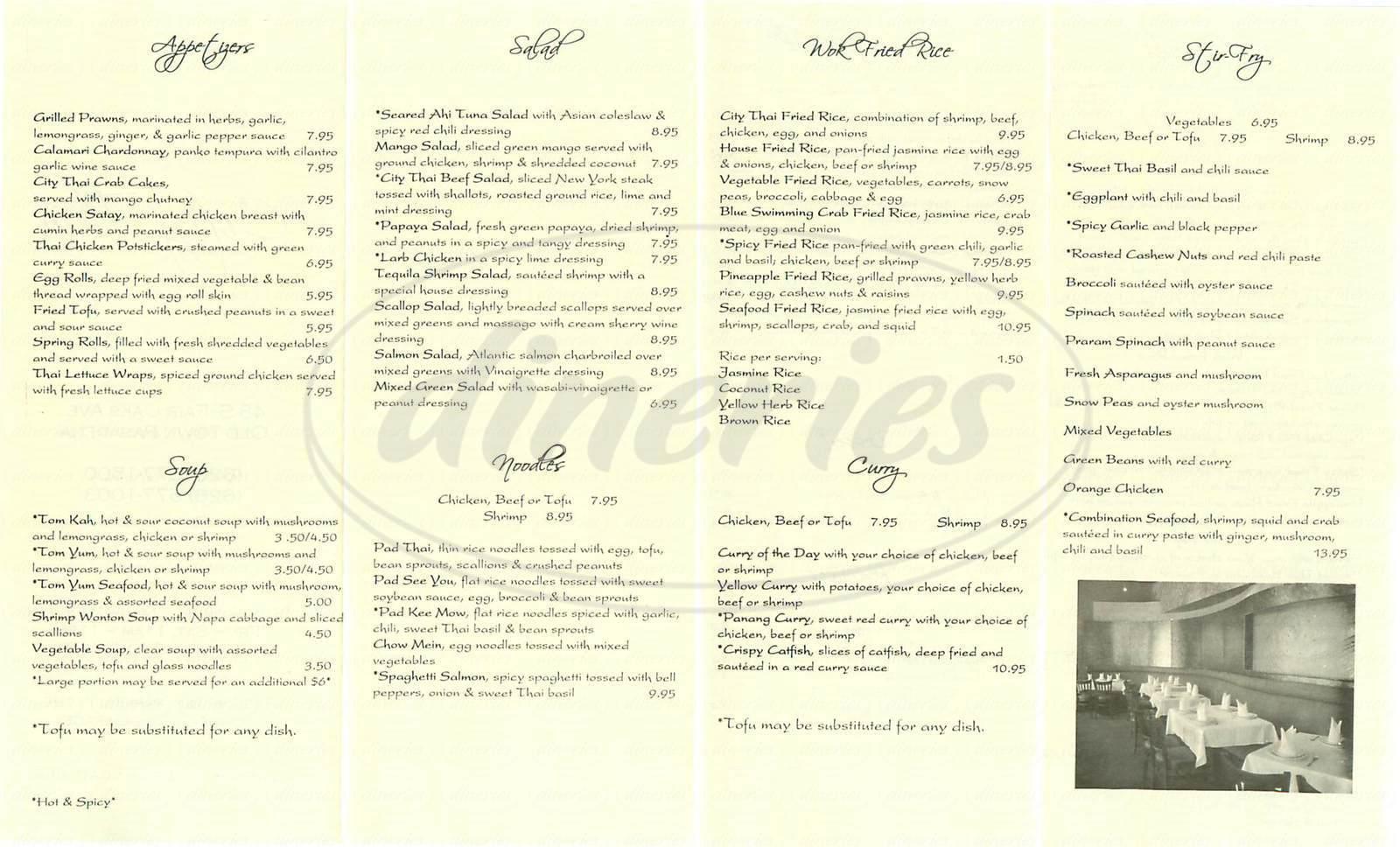 menu for City Thai