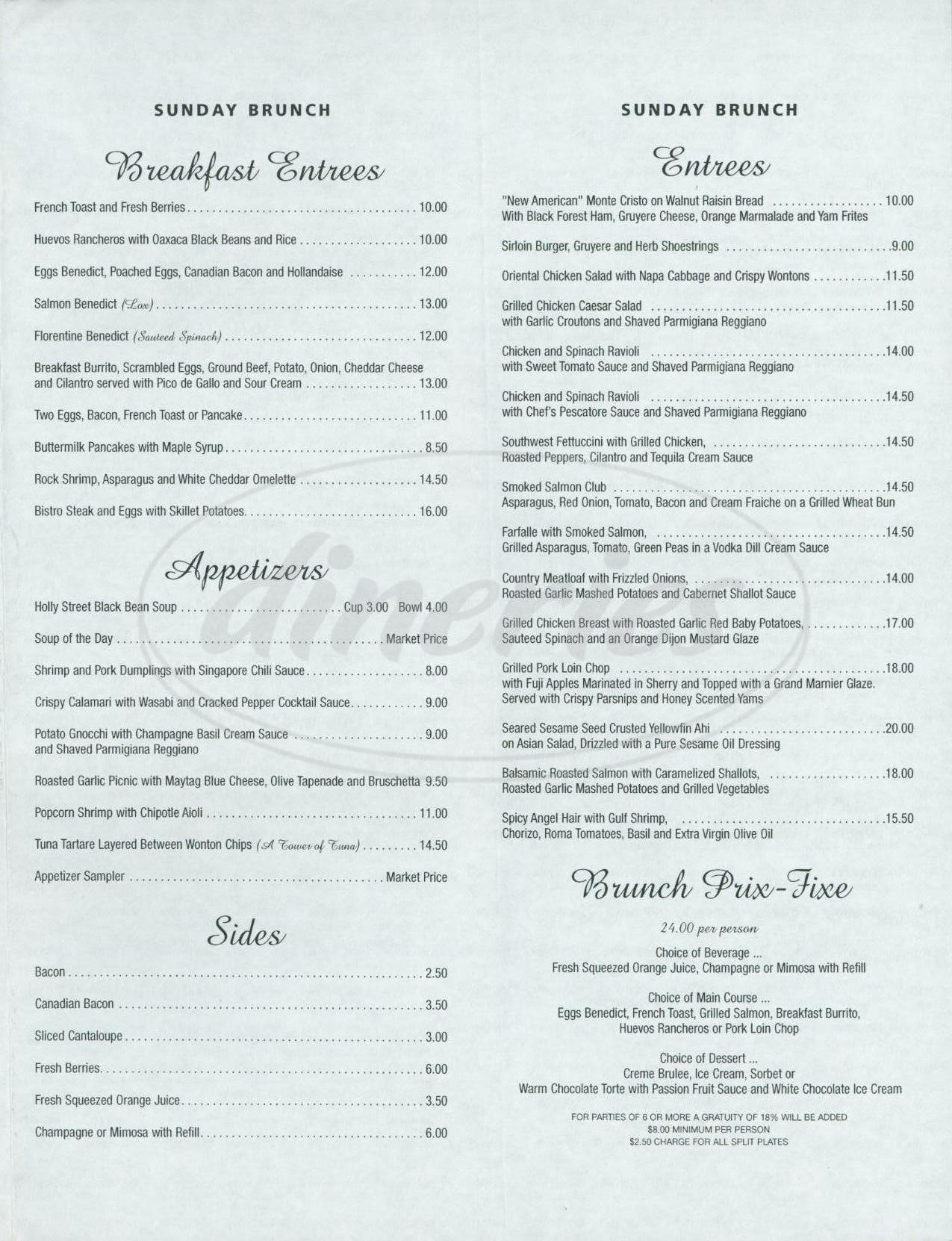 menu for Holly Street Bar & Grill