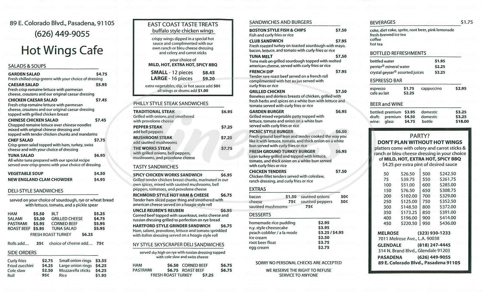 menu for Hot Wings Café
