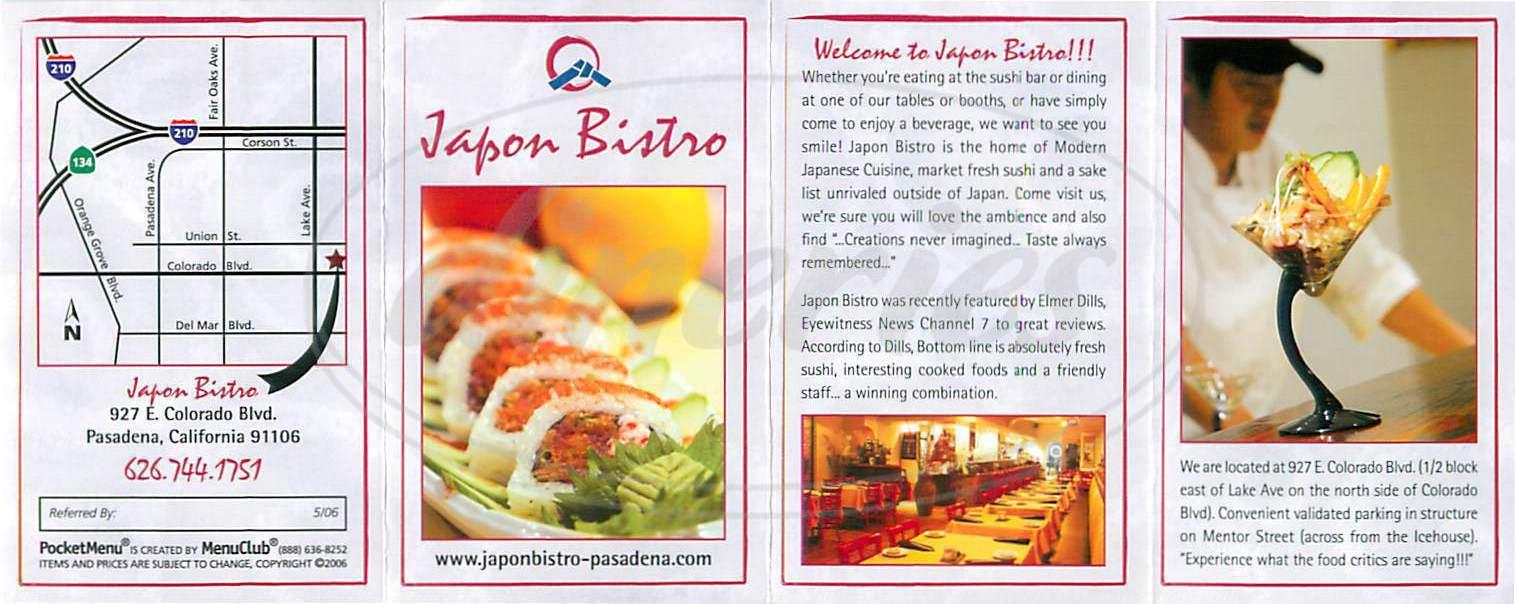 menu for Japon Bistro