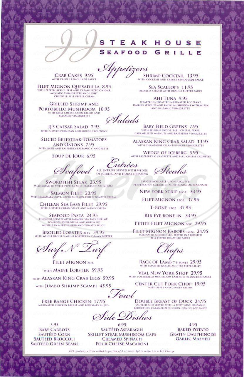 menu for JJ Steak House