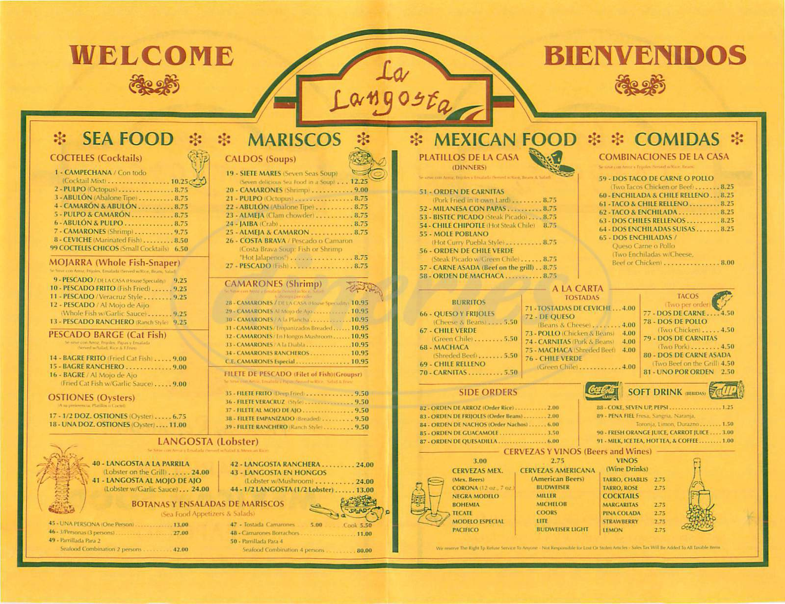 menu for La Langosta