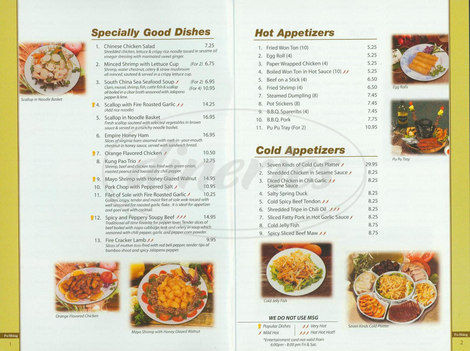 menu for Fu-Shing Chinese Restaurant