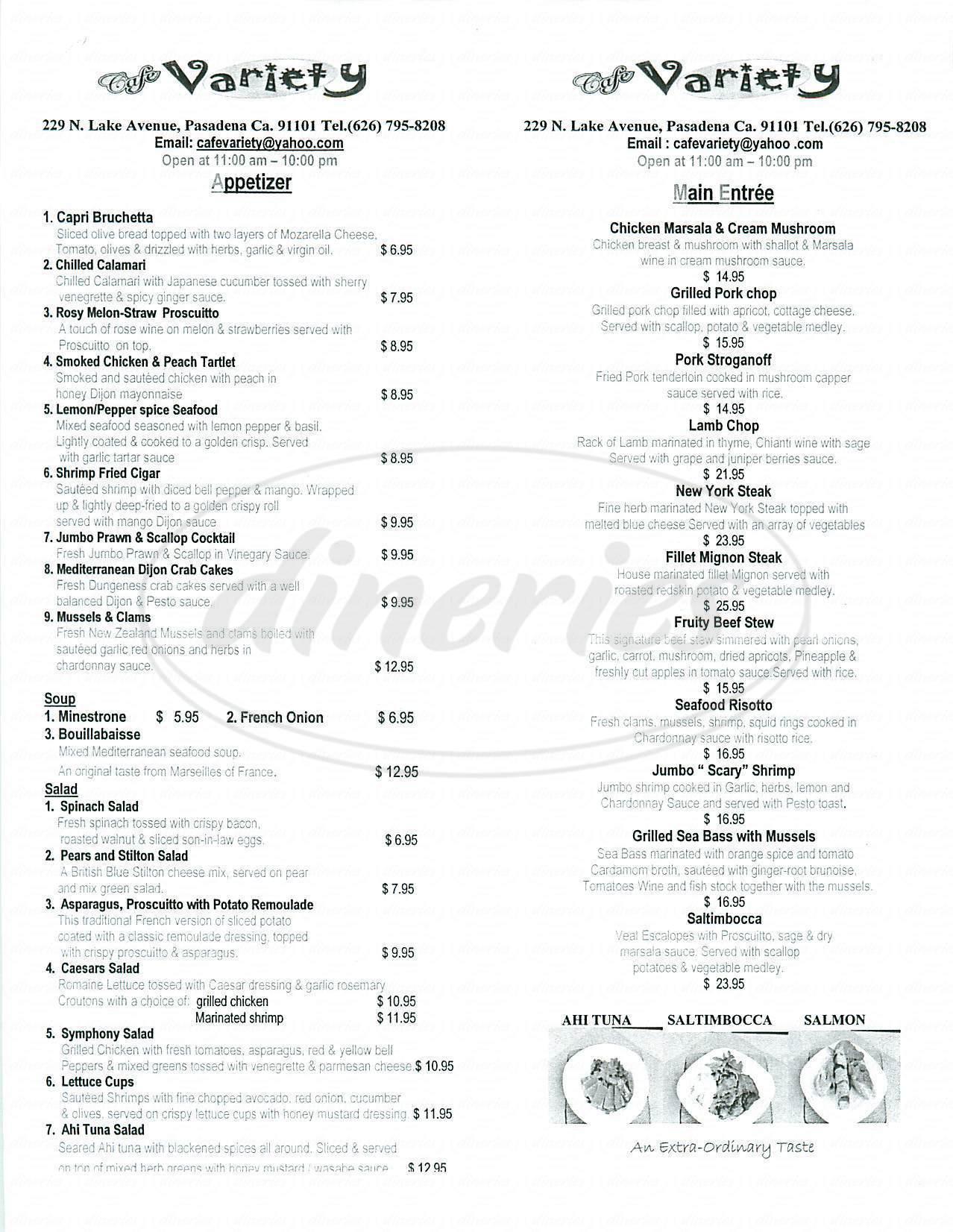 menu for Café Variety