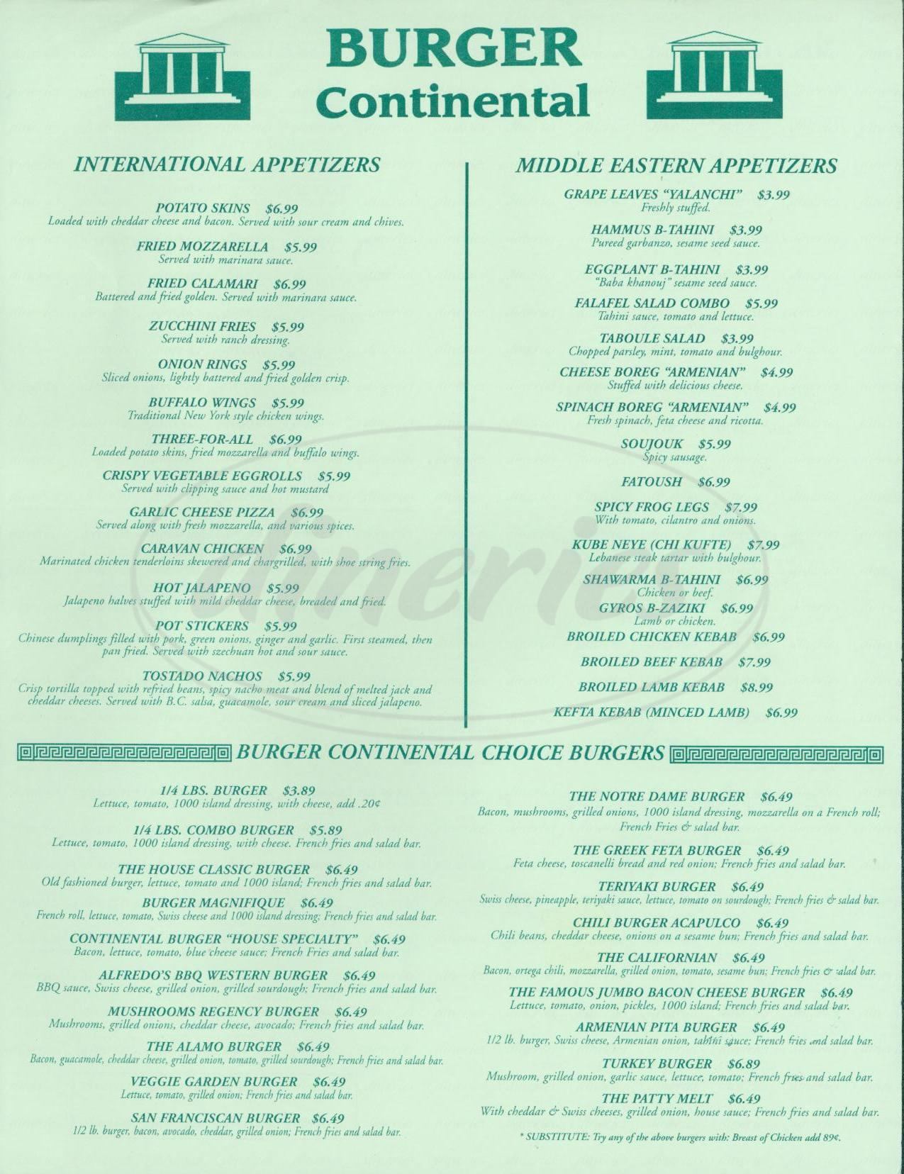menu for Burger Continental