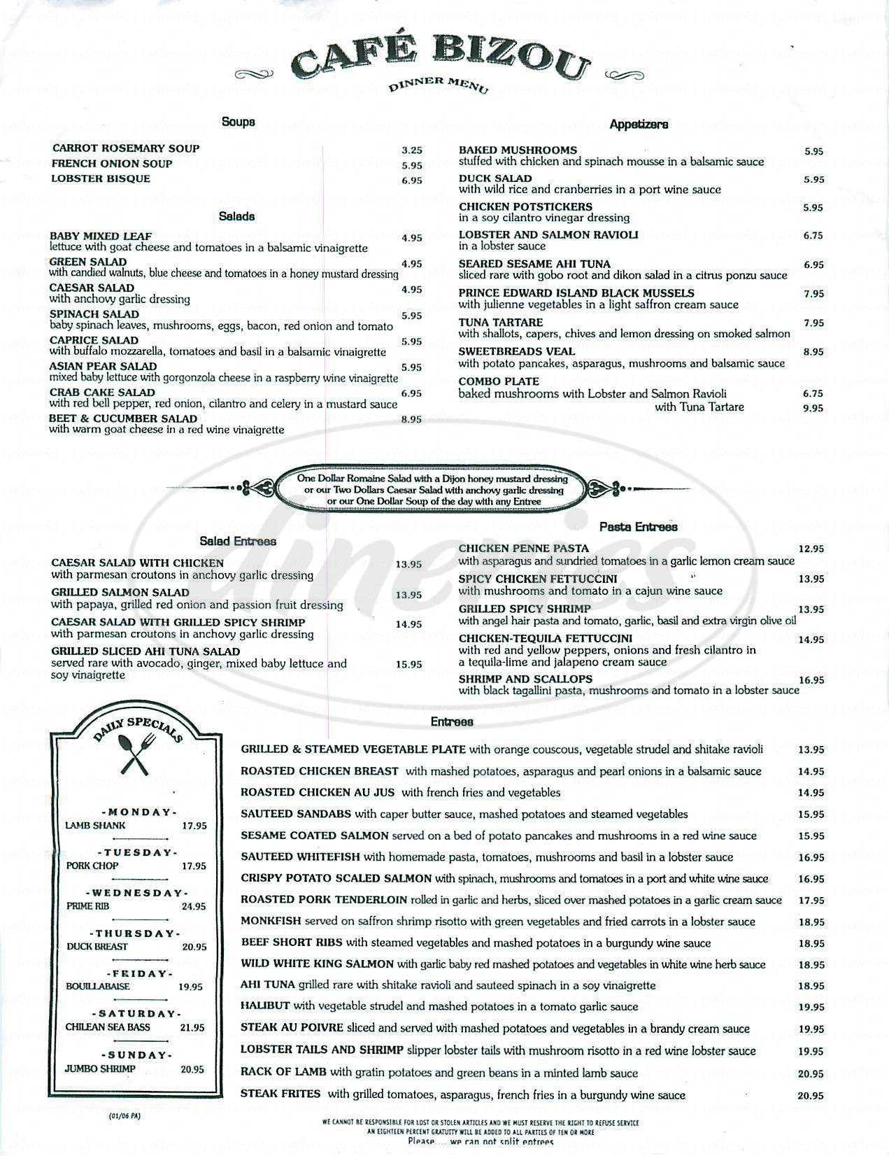 menu for Café Bizou