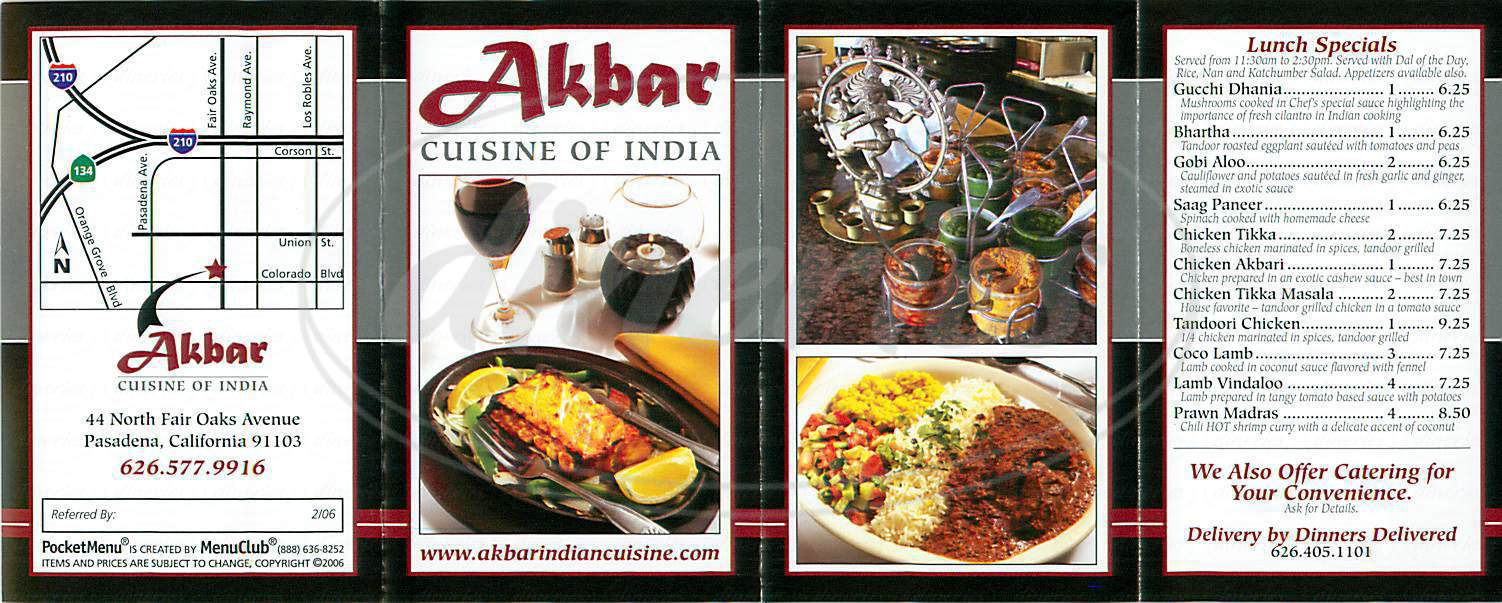 menu for Akbar Cuisine of India