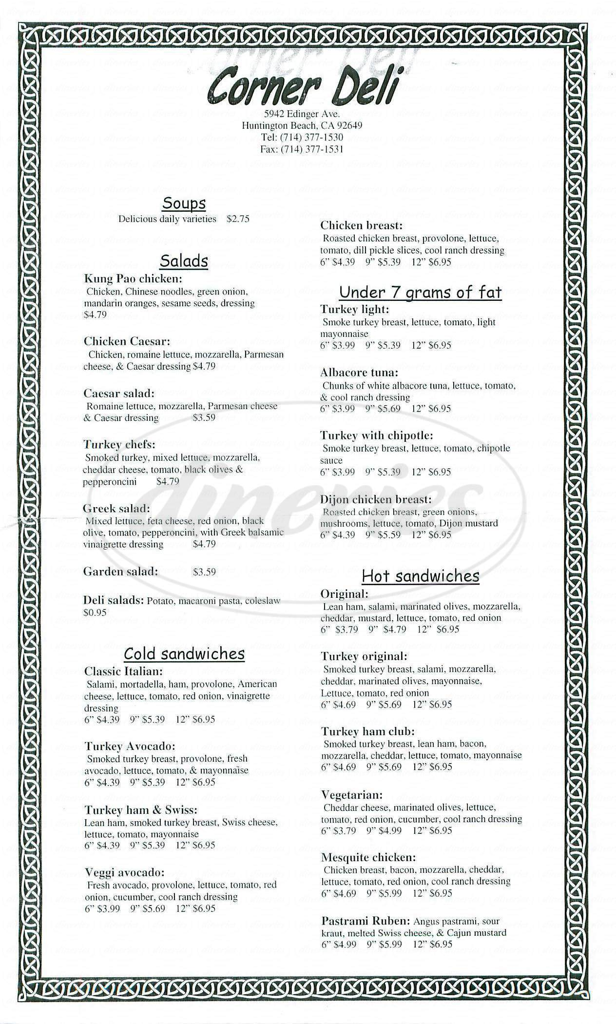 menu for Corner Deli