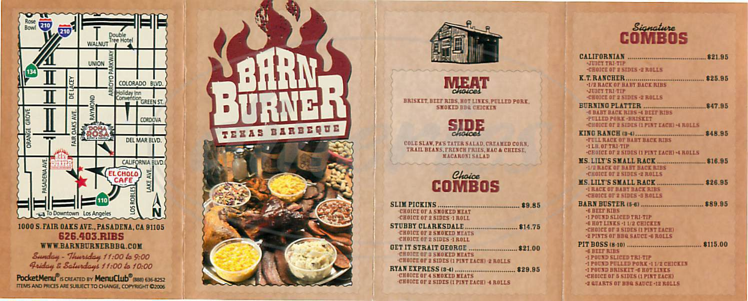 menu for Barn Burner BBQ