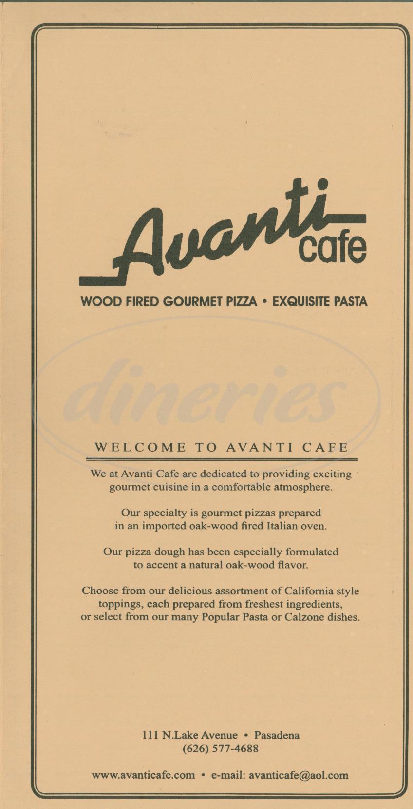 menu for Avanti Café