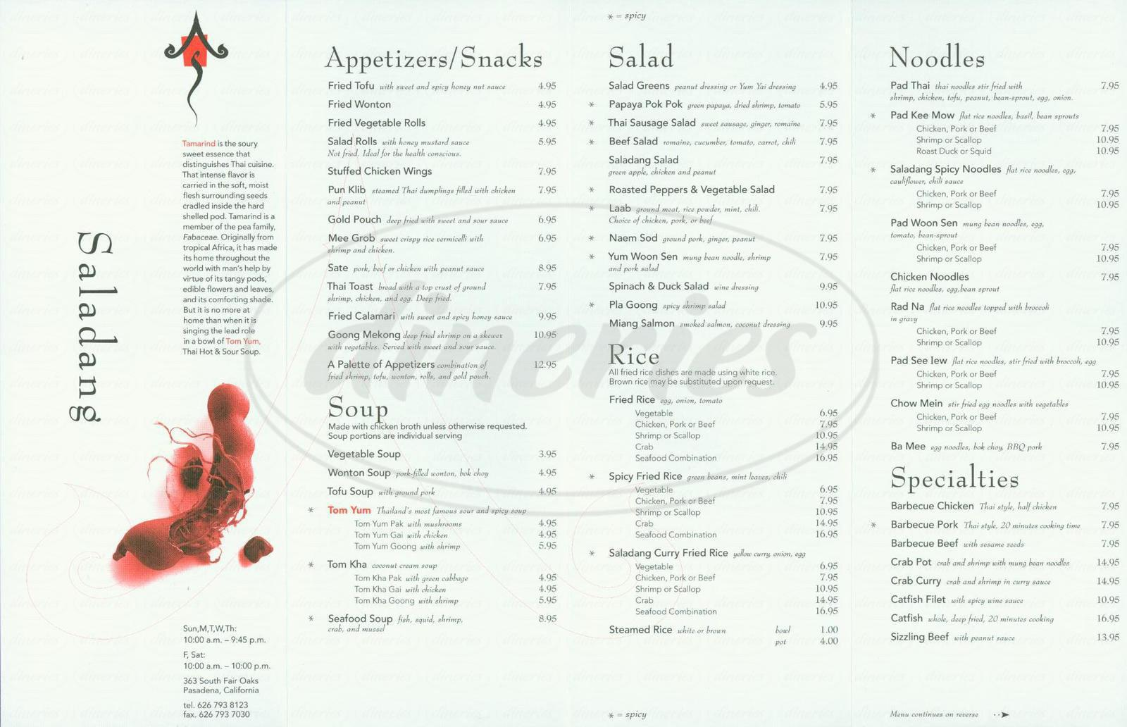 menu for Saladang