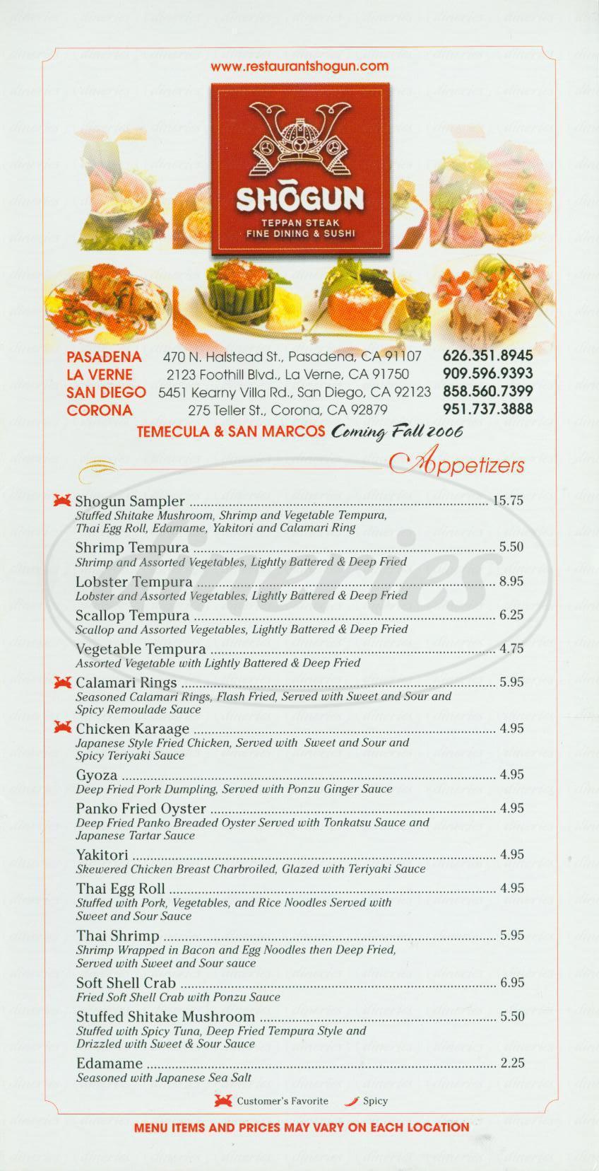 menu for Shogun Tepan Steak