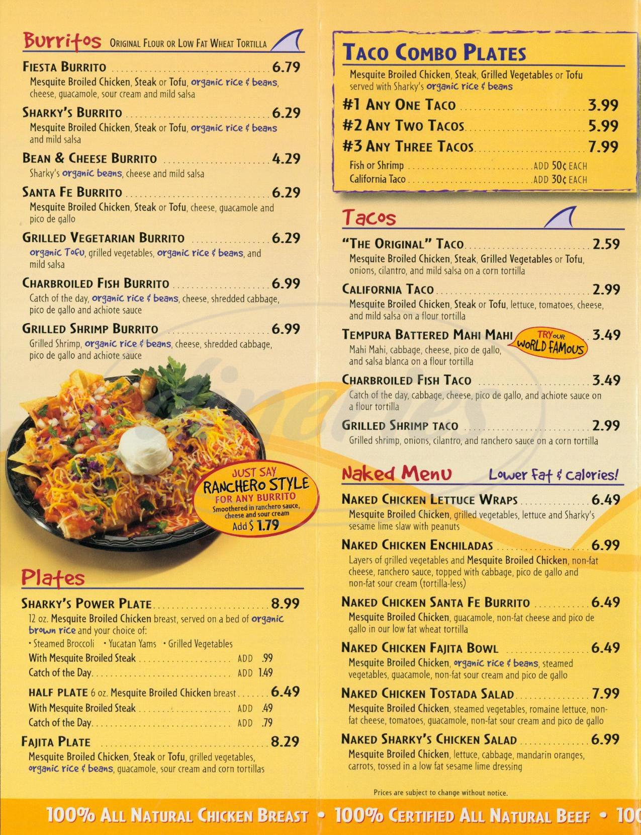 menu for Sharkys Woodfire Mexican Grill