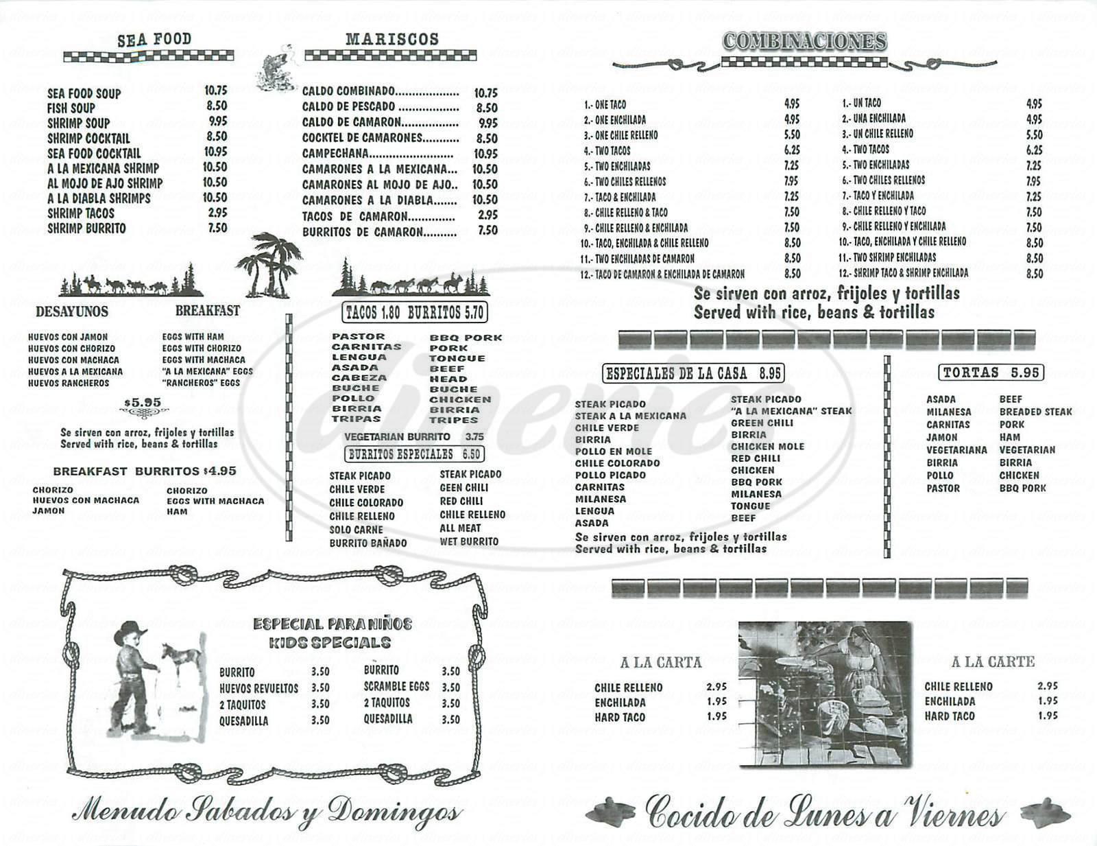 menu for Puebla Tacos